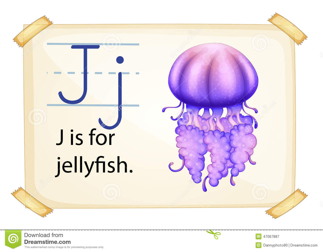 A Letter J For Jellyfish Stock Vector Image Of Artwork