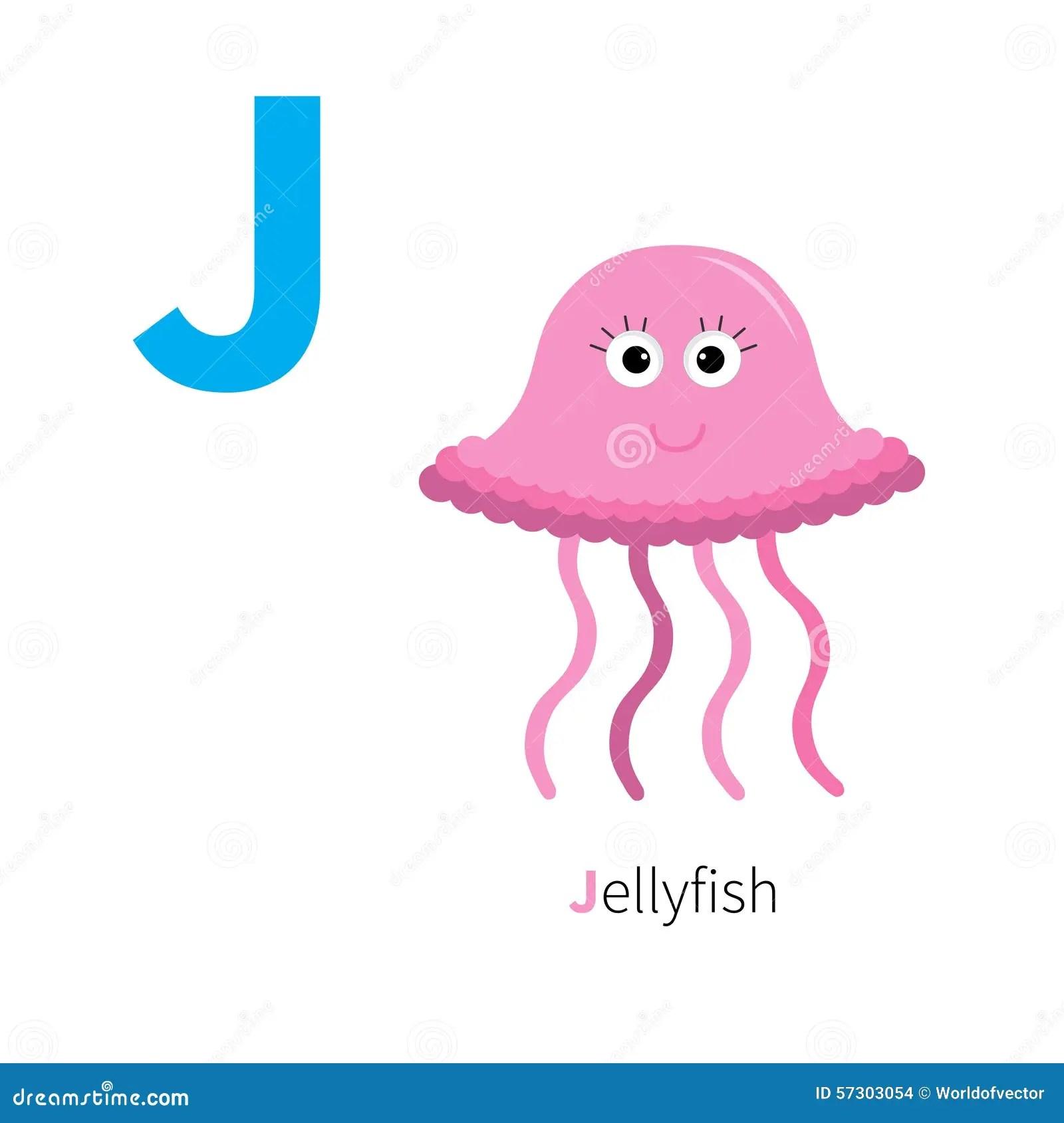 Letter J Jellyfish Zoo Alphabet English Abc With Animals