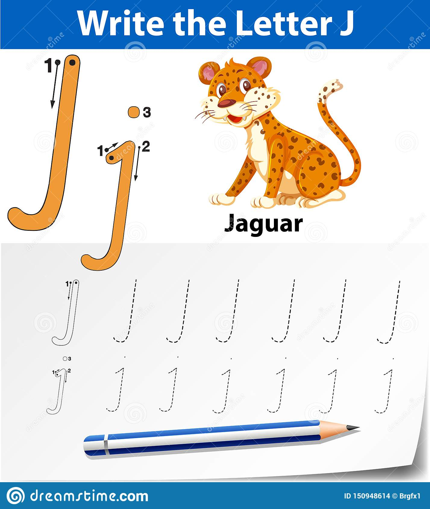 Letter J Tracing Alphabet Worksheets Stock Vector