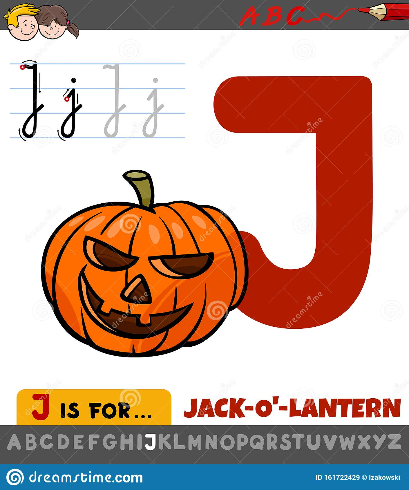 Letter J Worksheet With Cartoon Jack O Lantern Stock