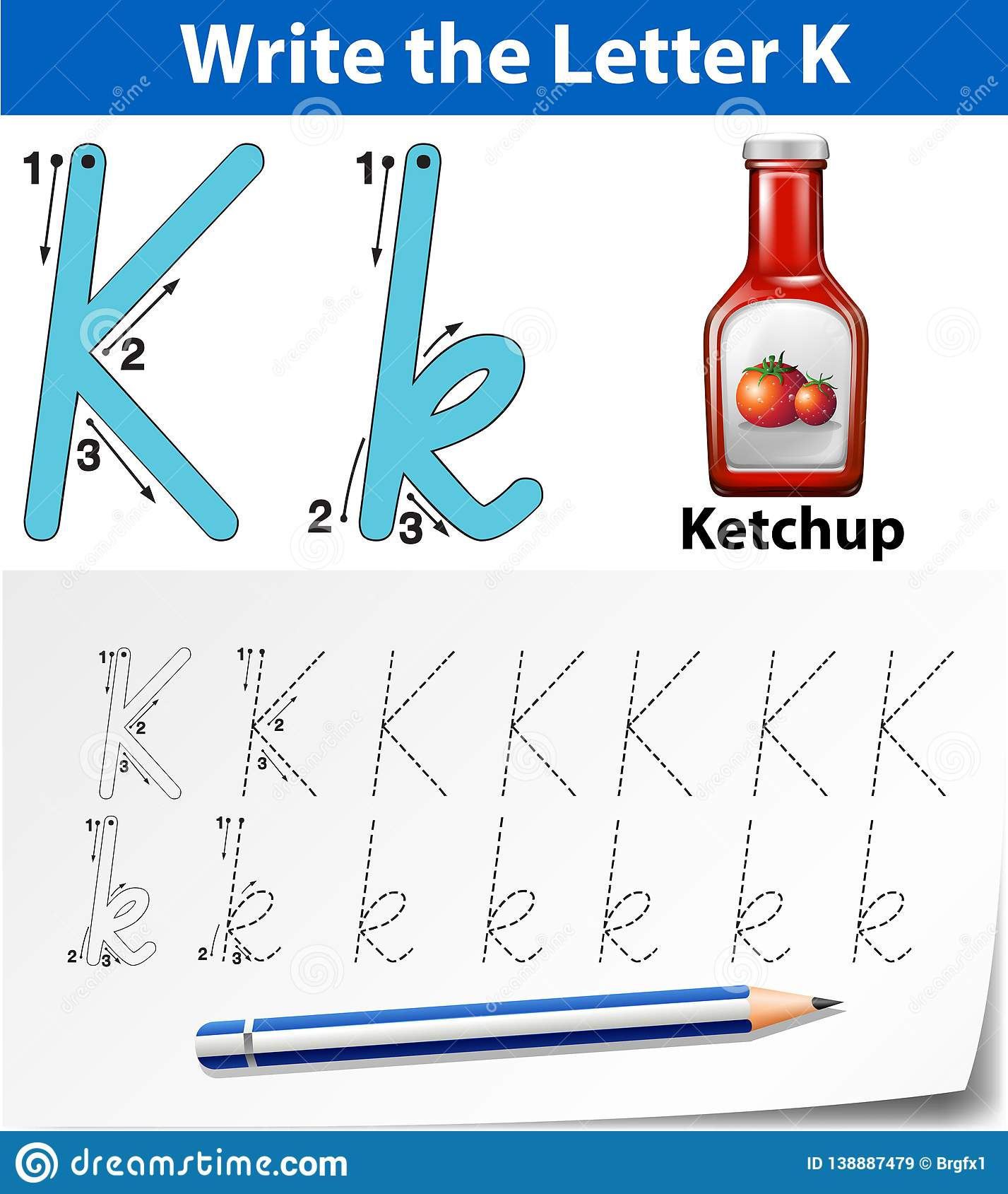 Letter K Tracing Alphabet Worksheets Stock Vector