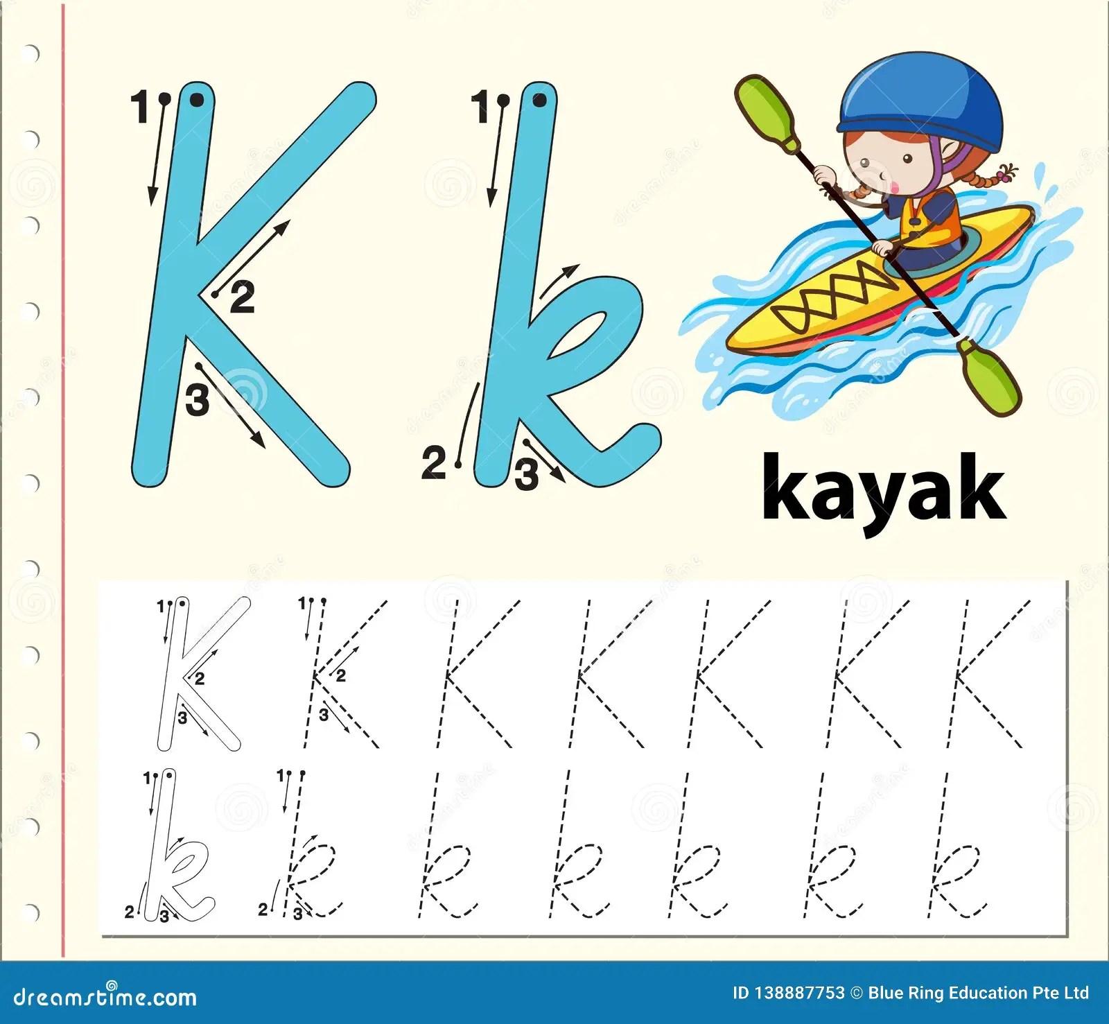 Letter K Tracing Alphabet Worksheets Stock Vector