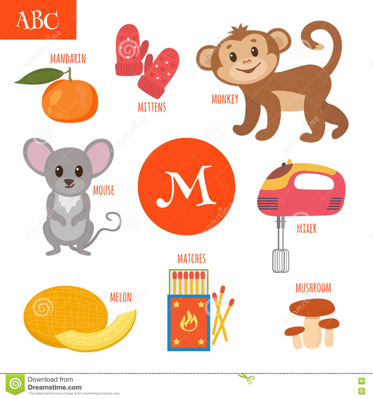 Letter M Cartoon Alphabet For Children Monkey Mouse Mushroom Stock Vector