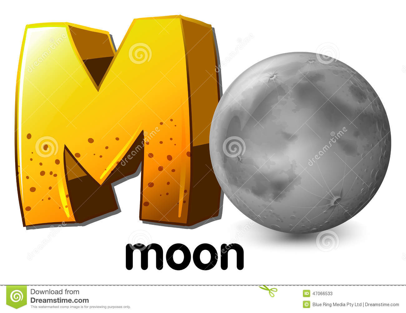 A Letter M For Moon Stock Vector Illustration Of