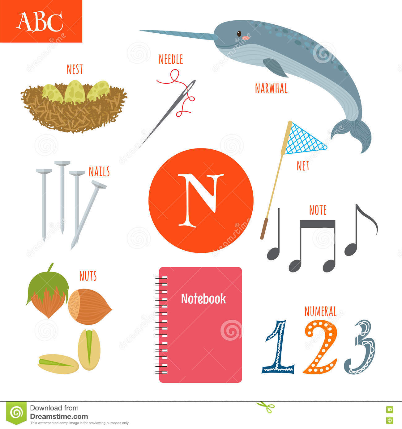Letter N With Cartoon Narwhal Cartoon Vector