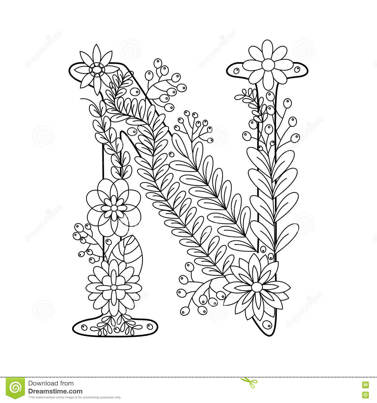 Letter N Coloring Book For Adults Vector Stock Vector