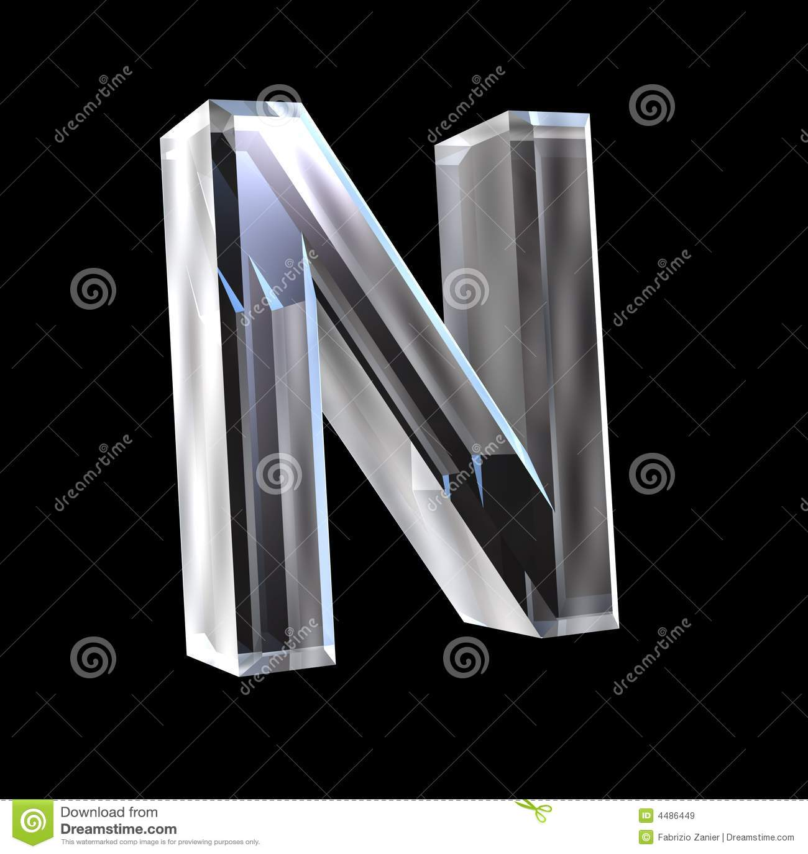 Letter N In Glass 3D Stock Illustration Image Of Latin