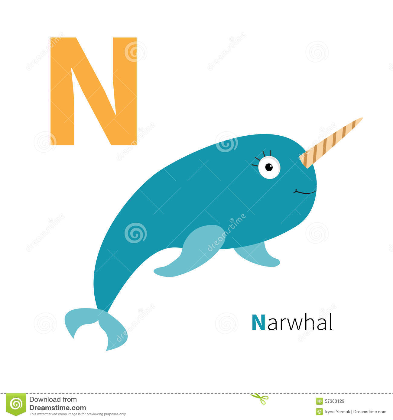 Letter N Narwhal Zoo Alphabet English Abc With Animals