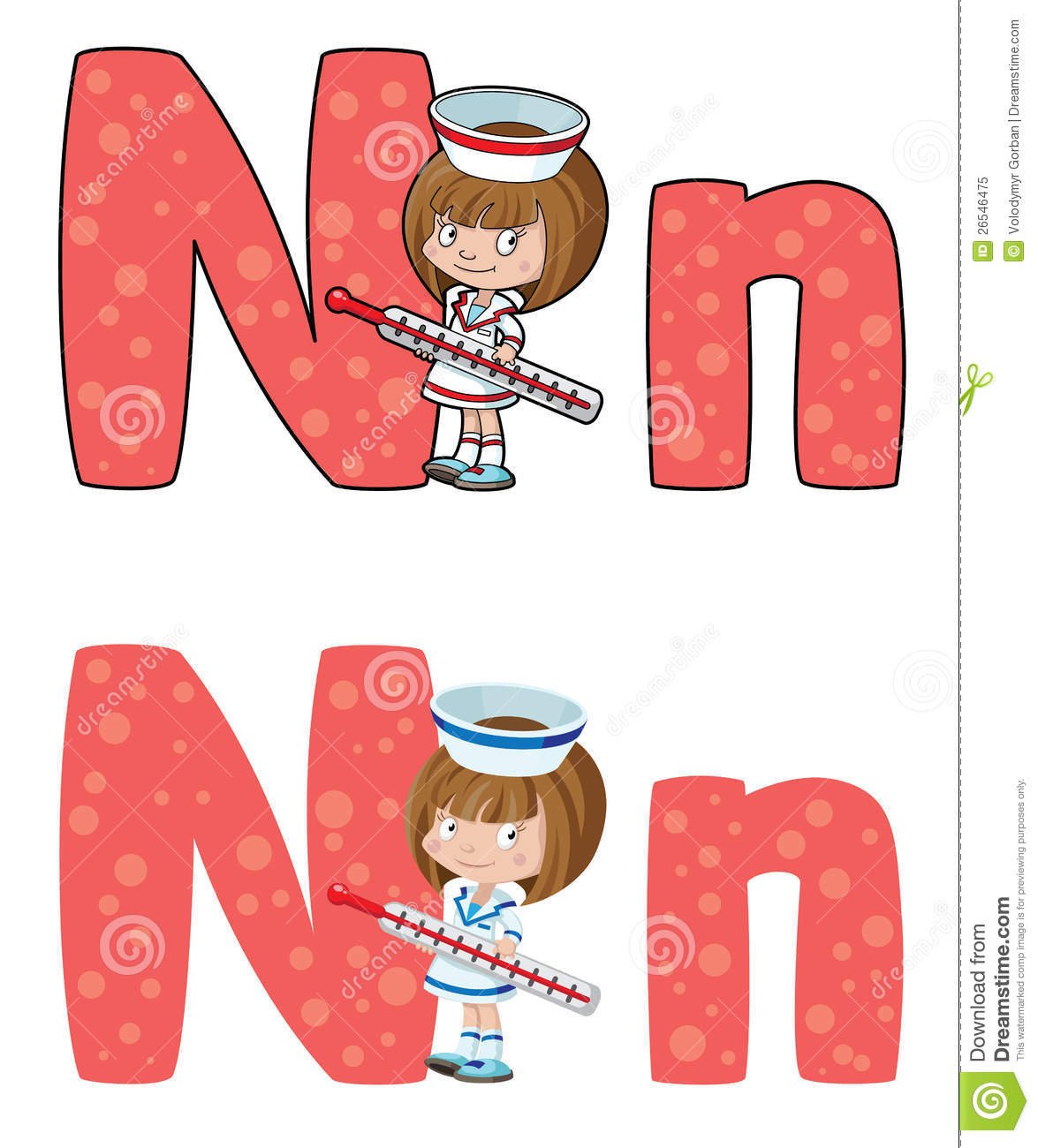 Letter N Nurse Stock Vector Image Of Work Cartoon Text
