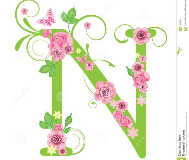 Letter N With Roses