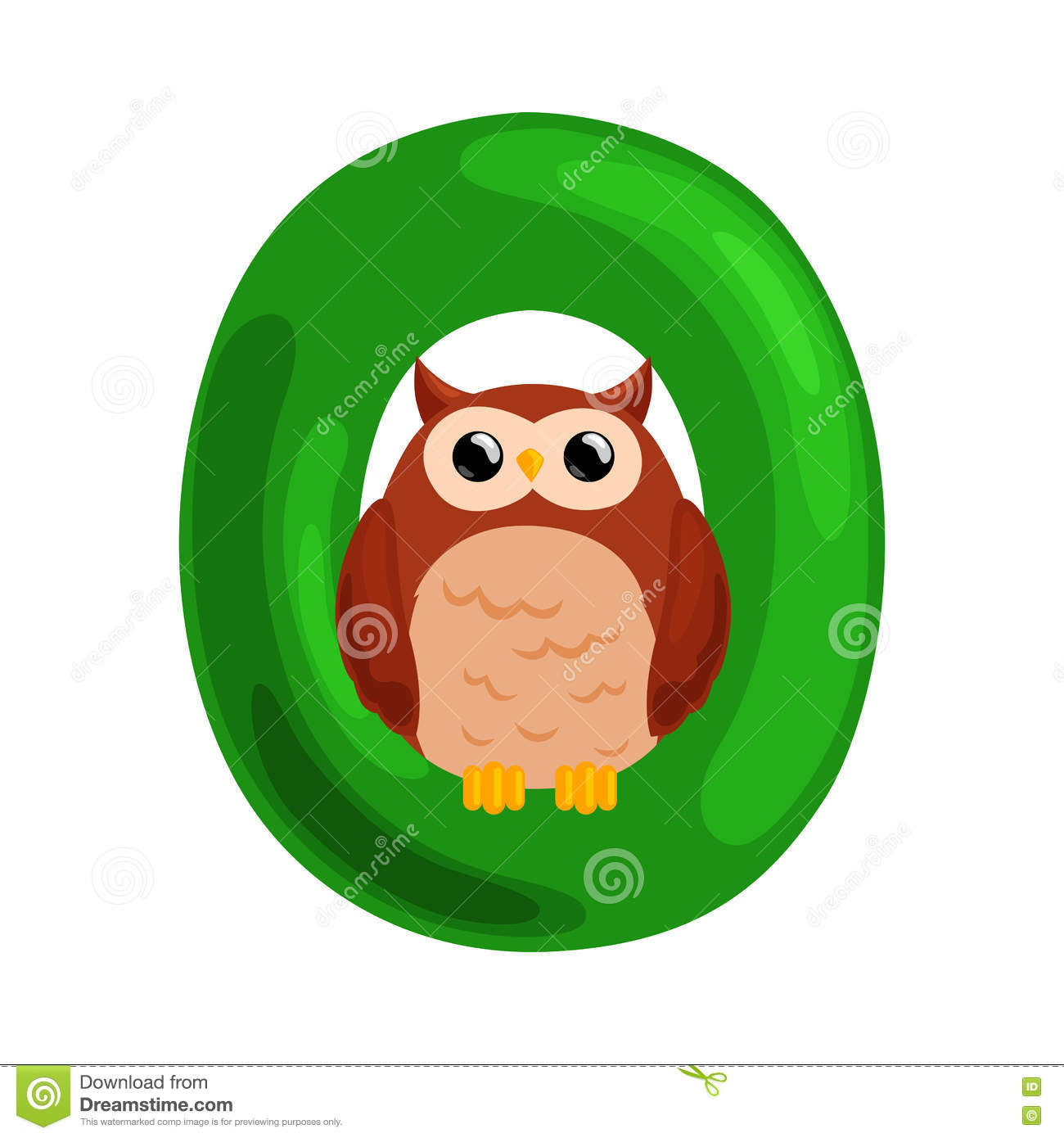 Letter O With Animal Owl For Kids Abc Education In Preschool Stock Vector