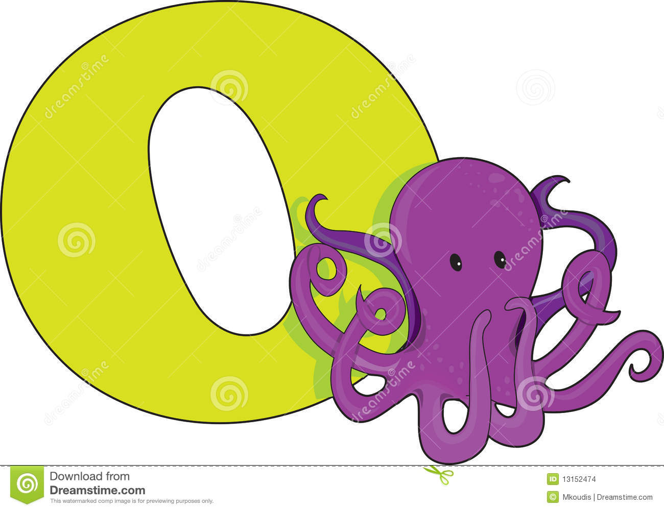 Letter O With An Octopus Stock Vector Illustration Of