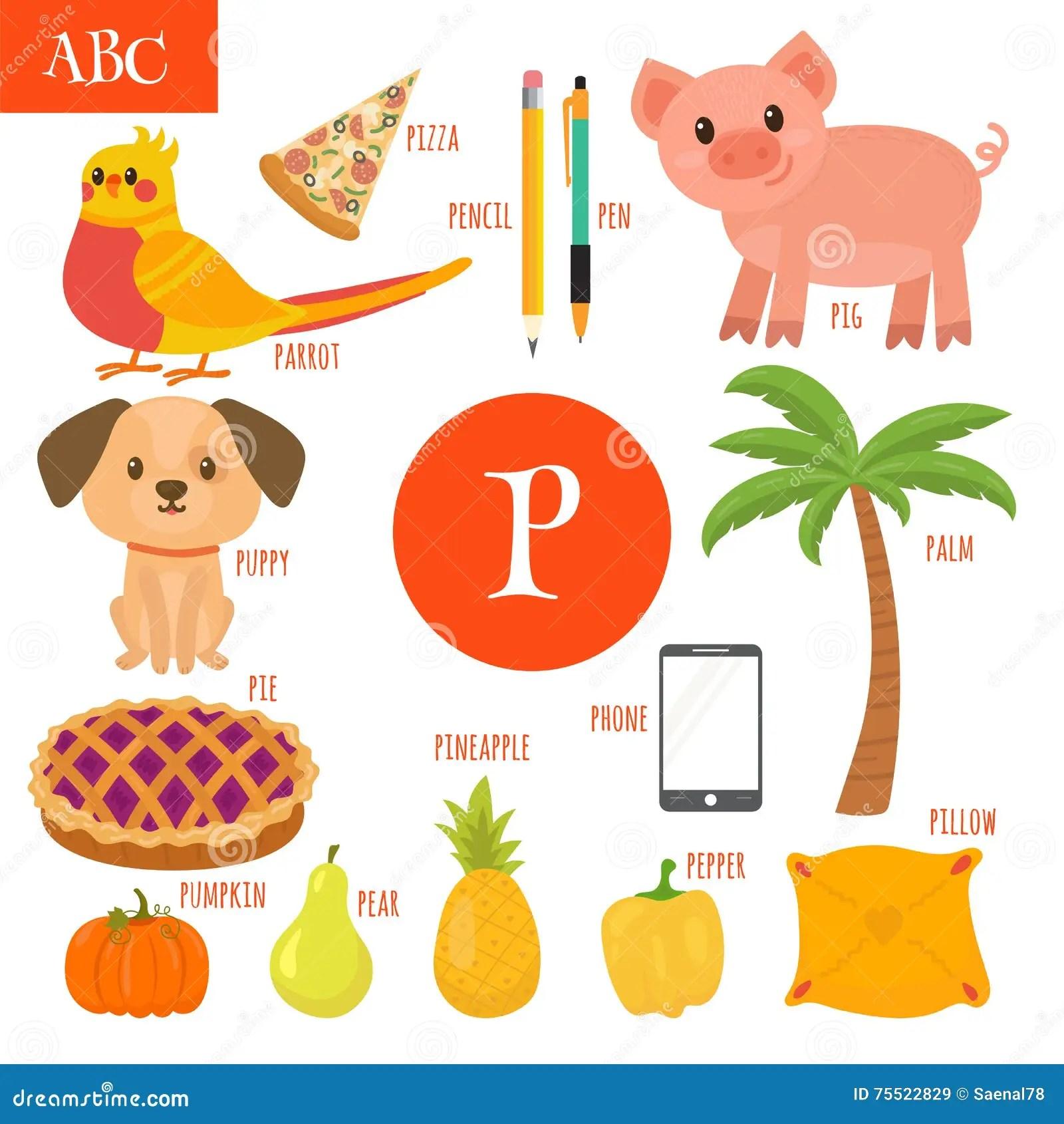 Letter P Cartoon Alphabet For Children Pear Pig Pen