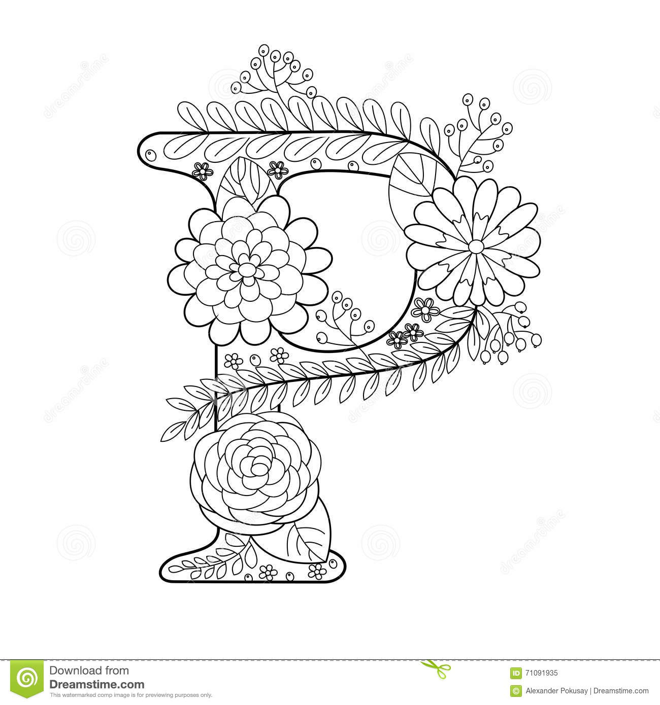 Letter P Coloring Pages For Adults