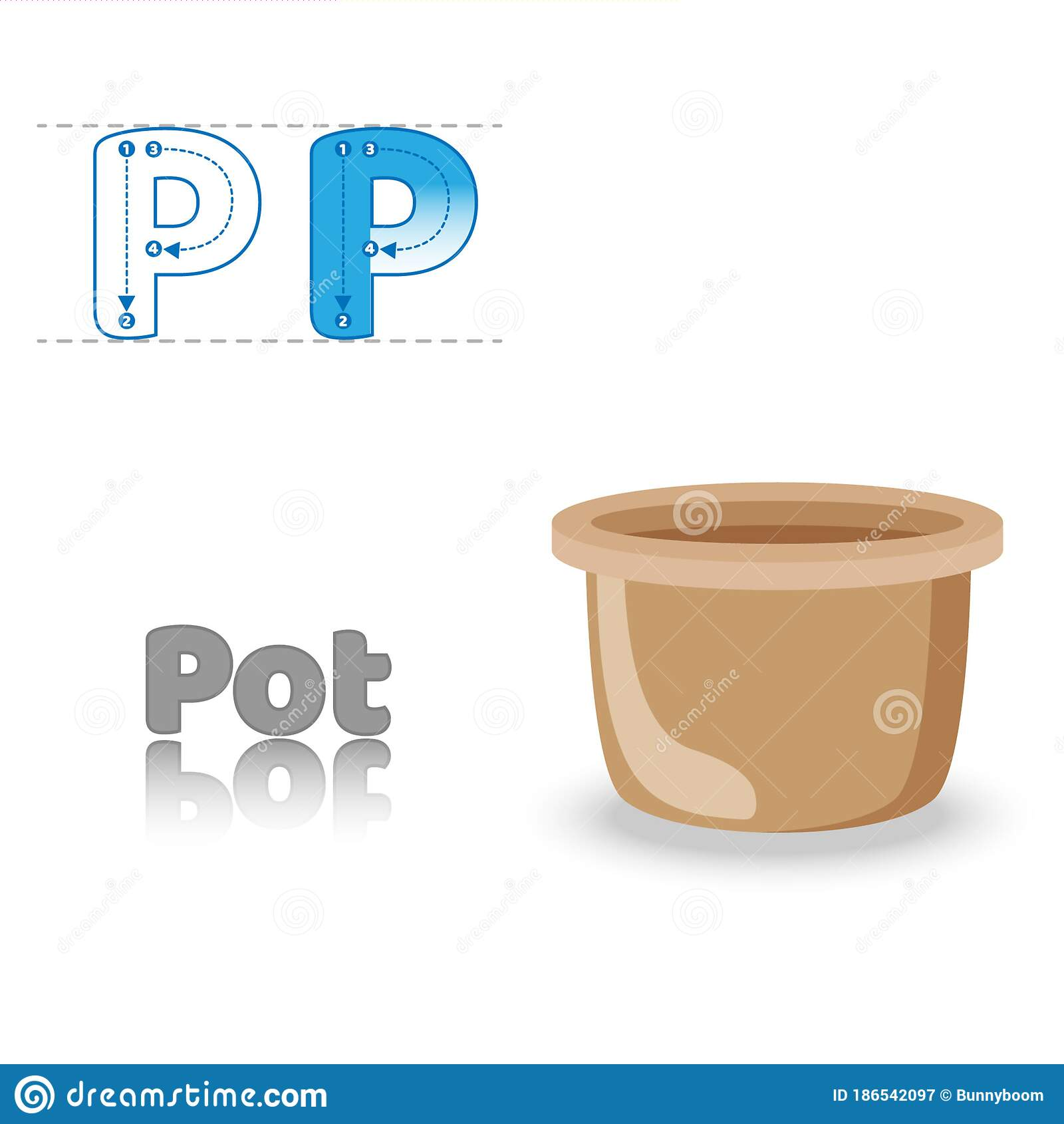 Letter P Pot English Alphabet Tracing Coloring Book Page