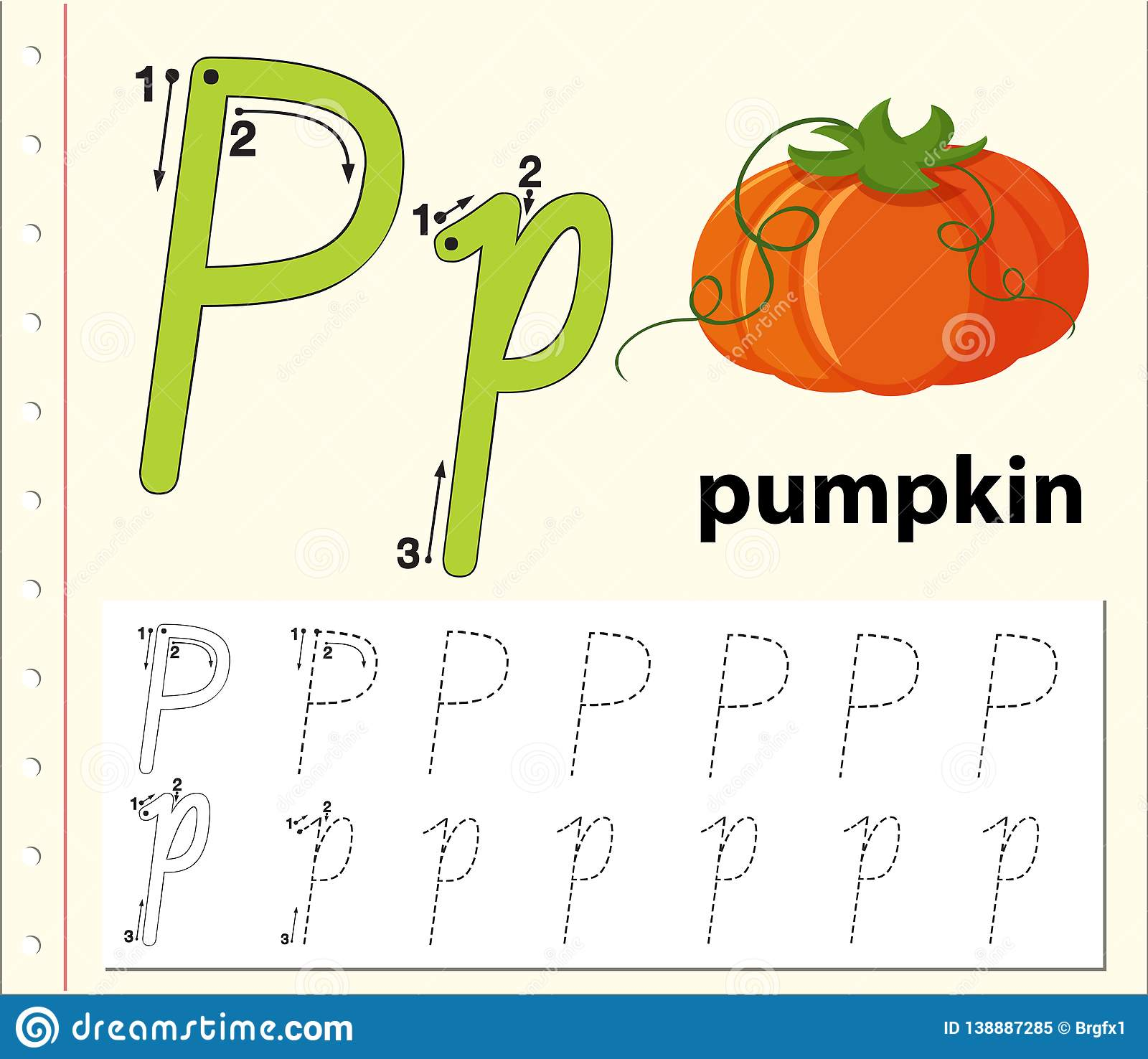 Letter P Tracing Alphabet Worksheets Stock Vector