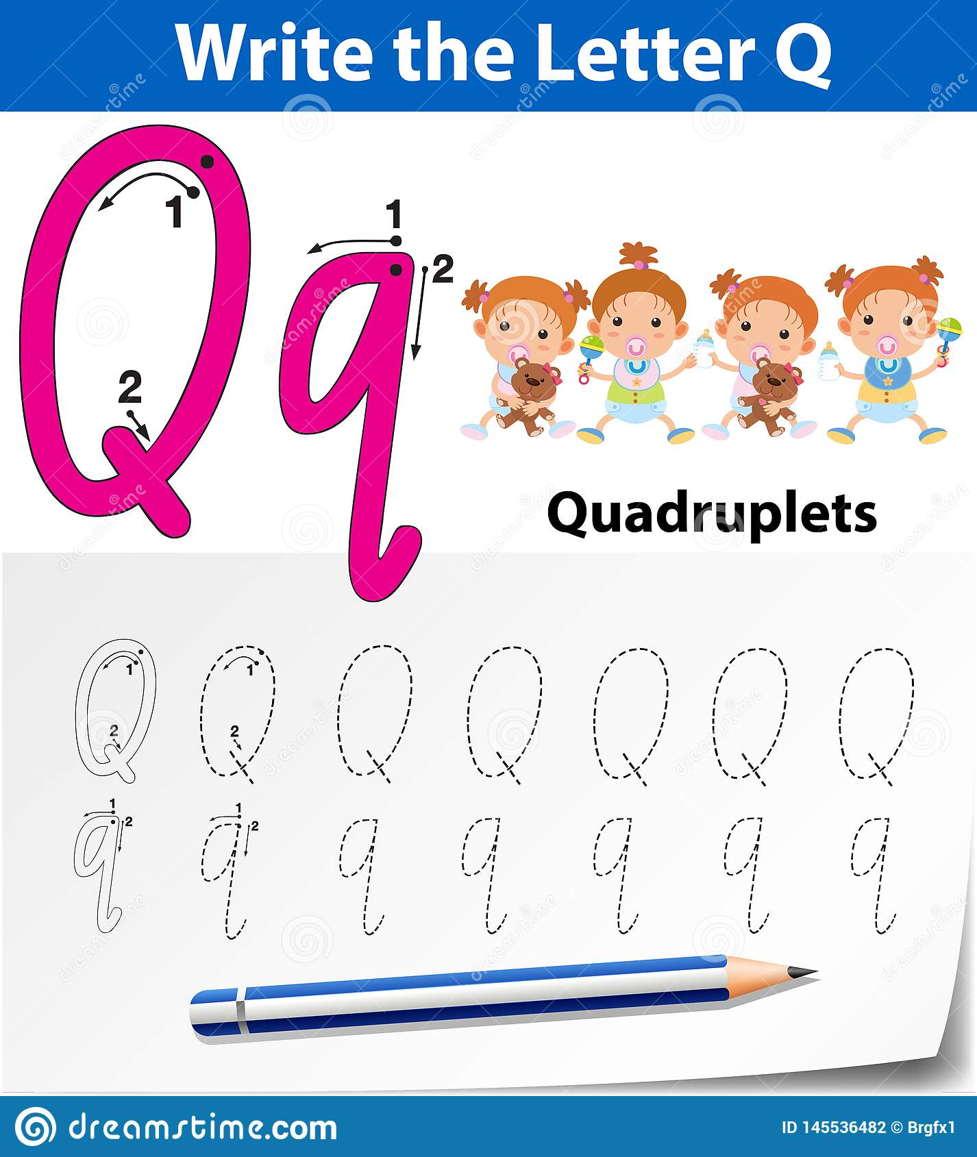 Letter Q Tracing Alphabet Worksheets Stock Vector