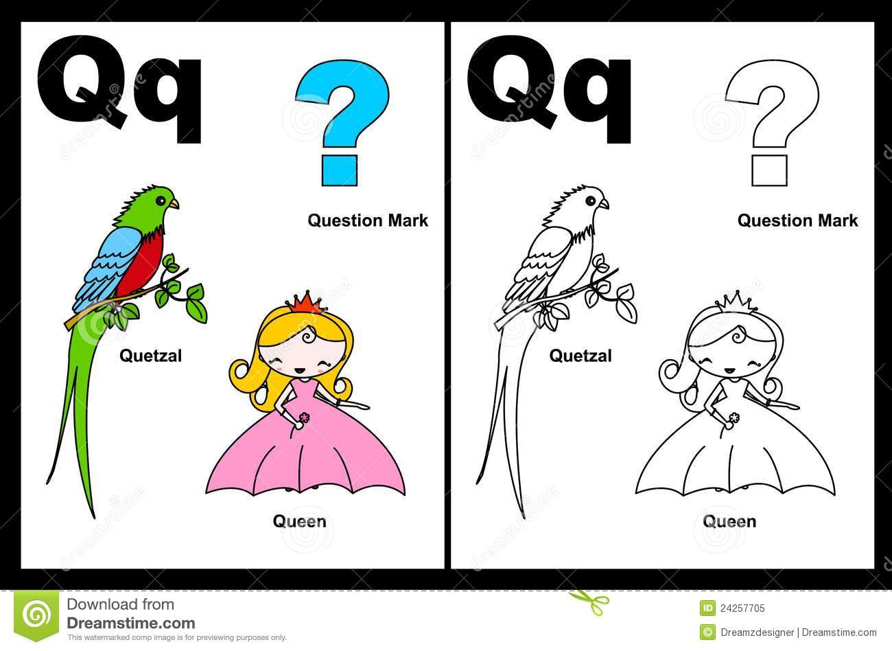Letter Q Worksheet Stock Vector Illustration Of Grade