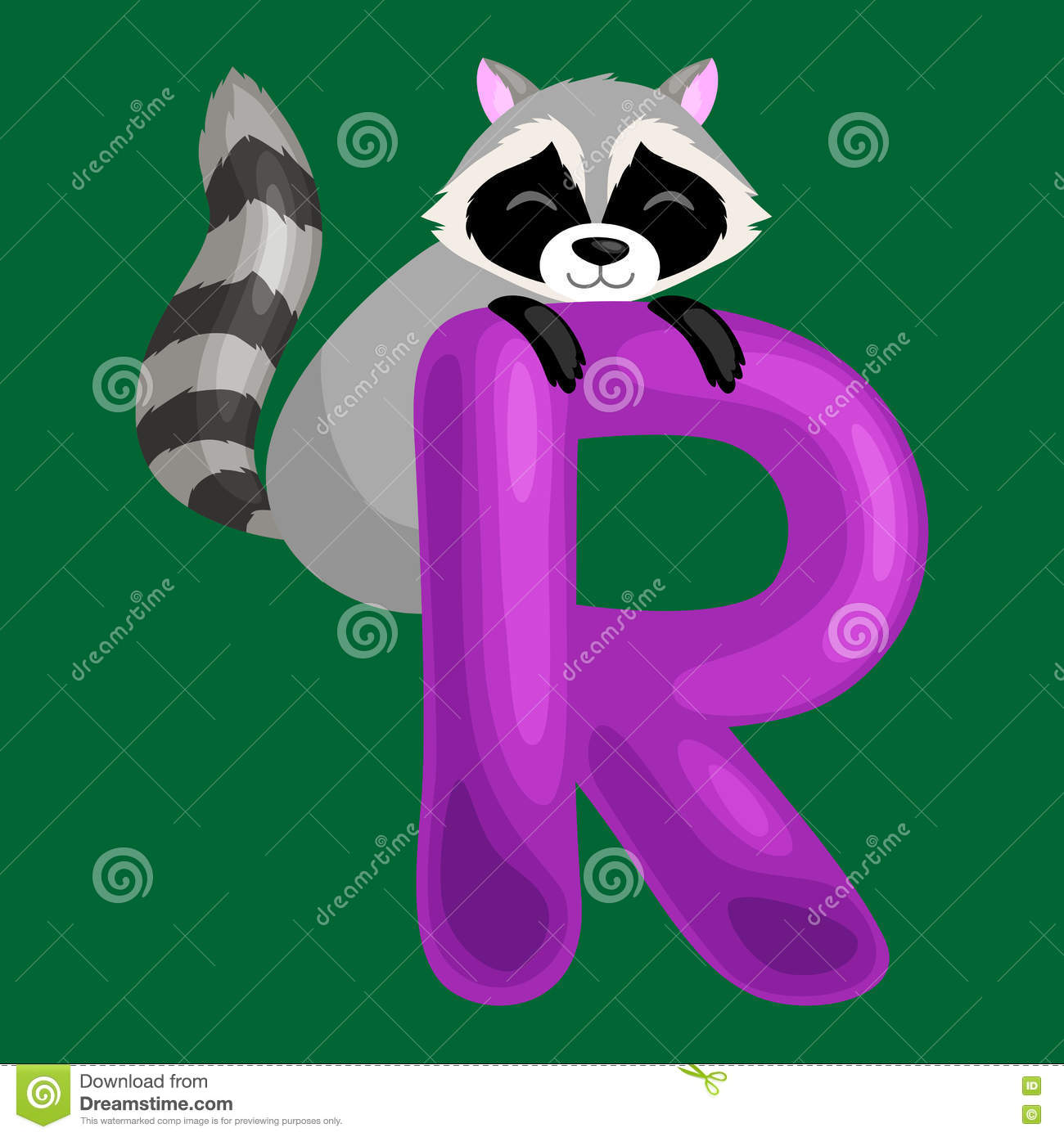 Letter R With Animal Raccoon For Kids Abc Education In Preschool Stock Vector