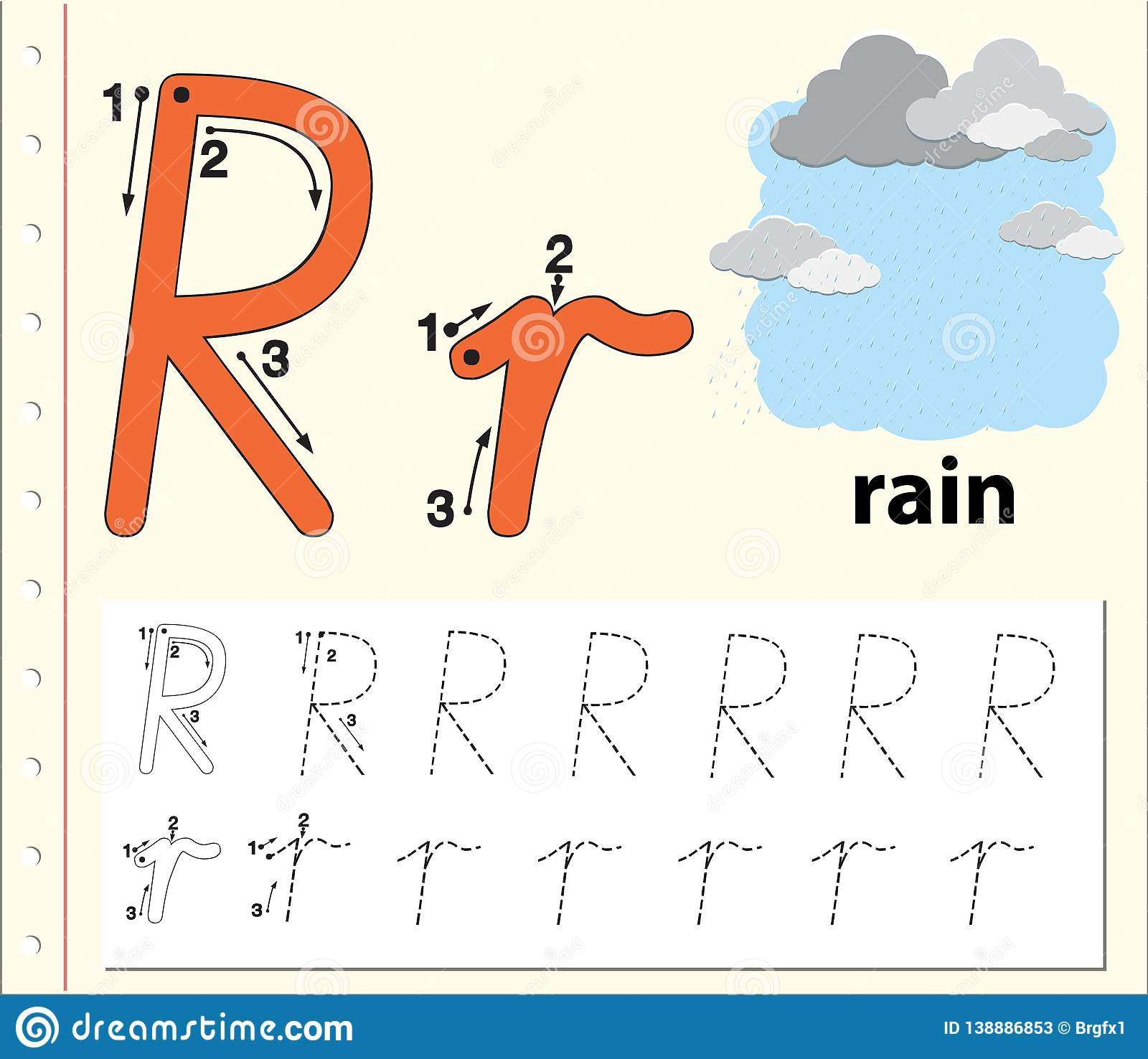 Letter R Tracing Alphabet Worksheets Stock Vector