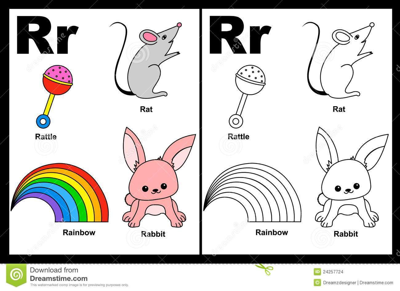 Letter R Worksheet Stock Vector Image Of Colourful Baby