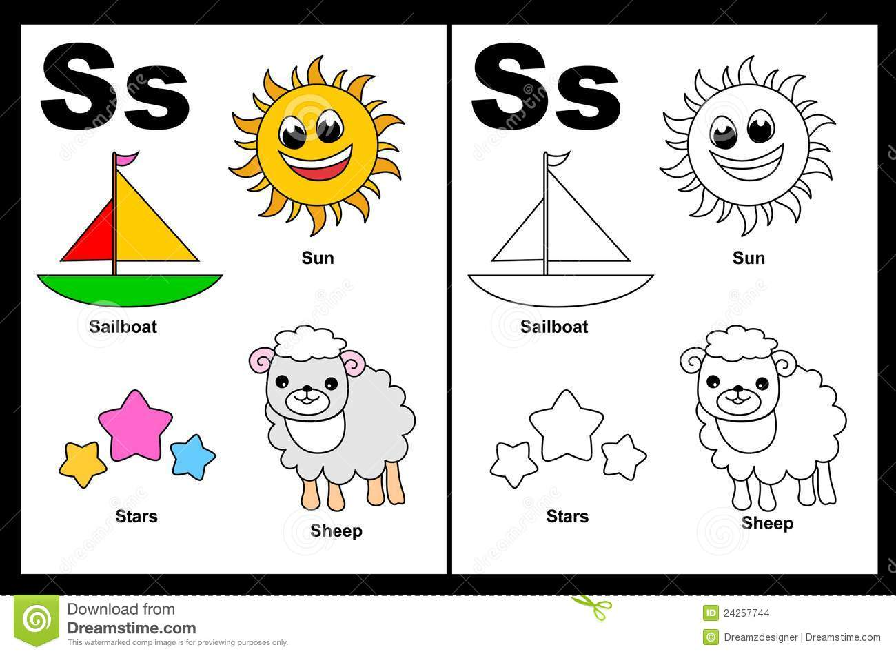 Letter S Worksheet Stock Vector Image Of Grade Empty