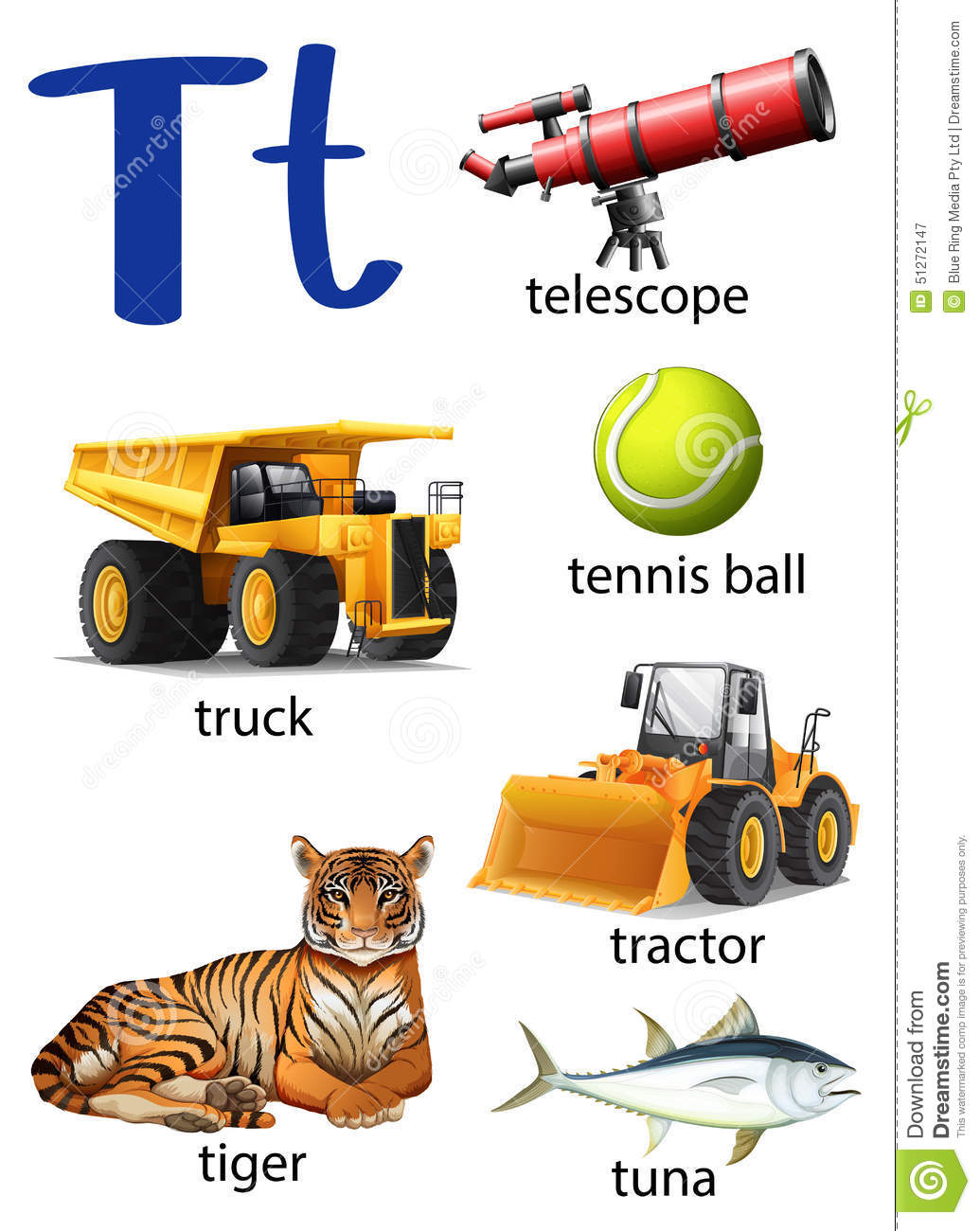 Letter T For Telescope Truck Tennis Ball Tractor Tiger