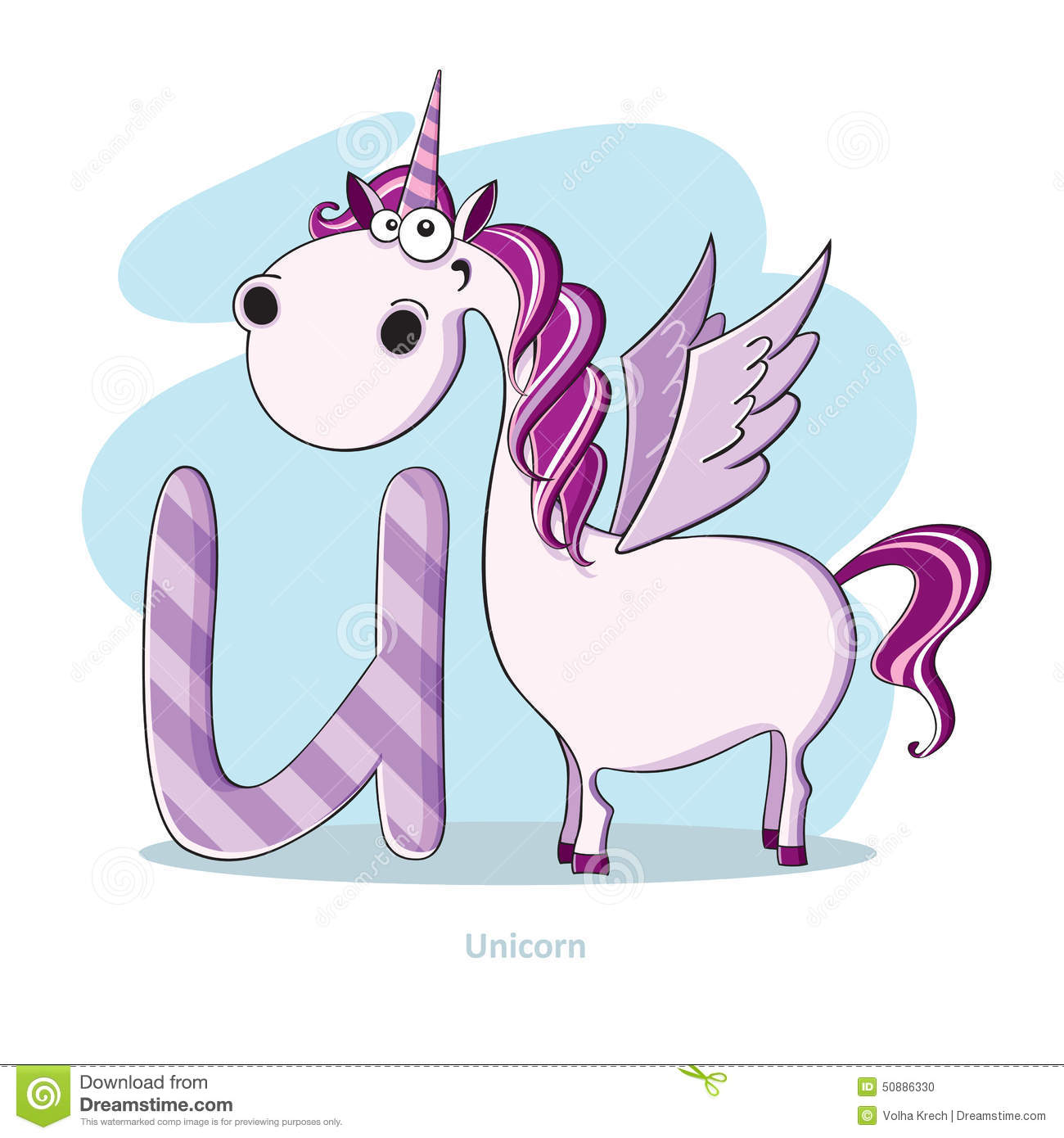 Letter U With Funny Unicorn Stock Vector