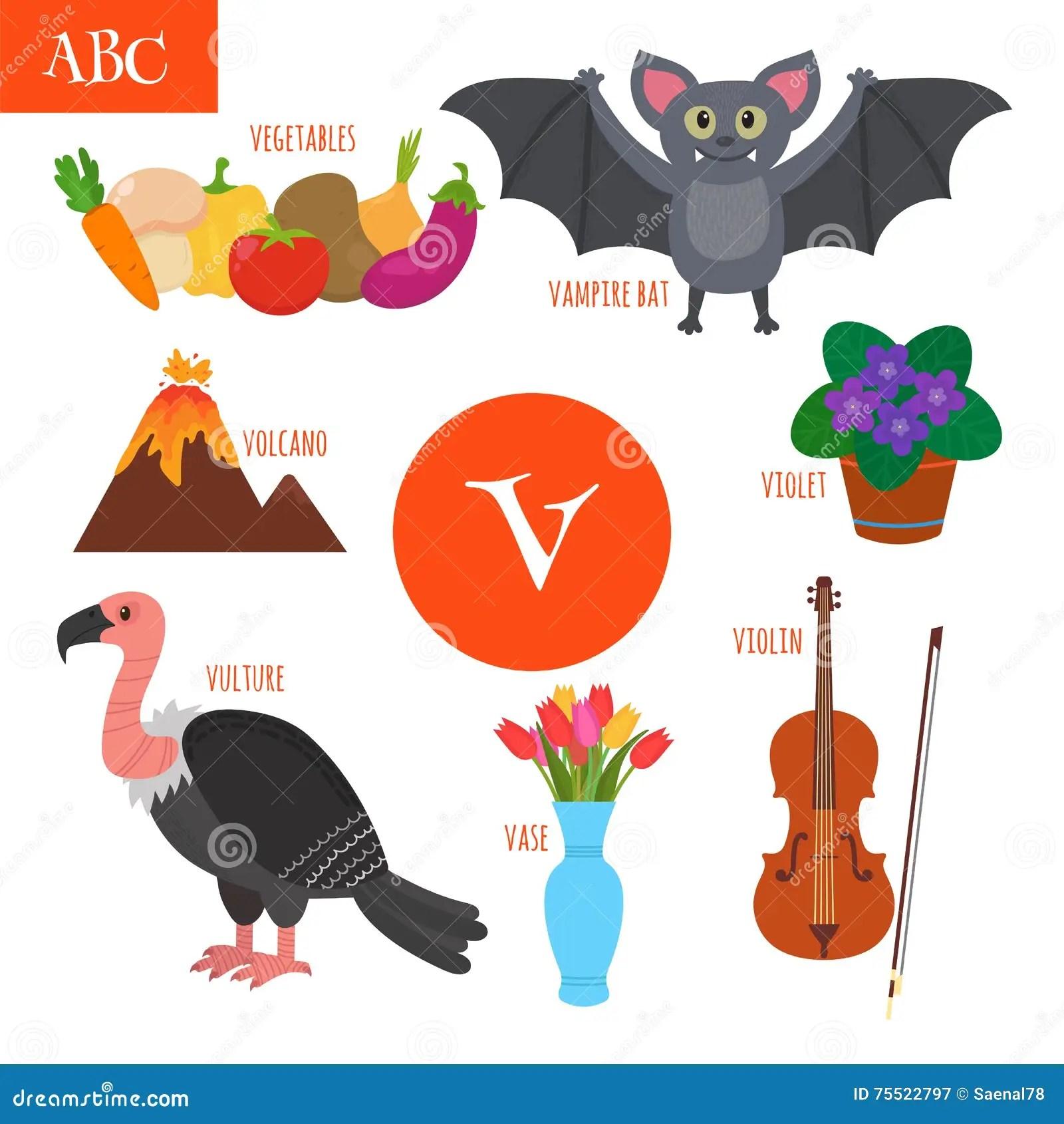 Letter V Cartoon Alphabet For Children Violin Vulture