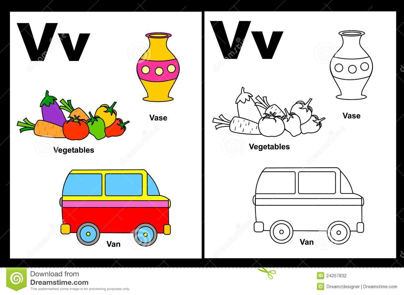 Letter V Worksheet Stock Photography