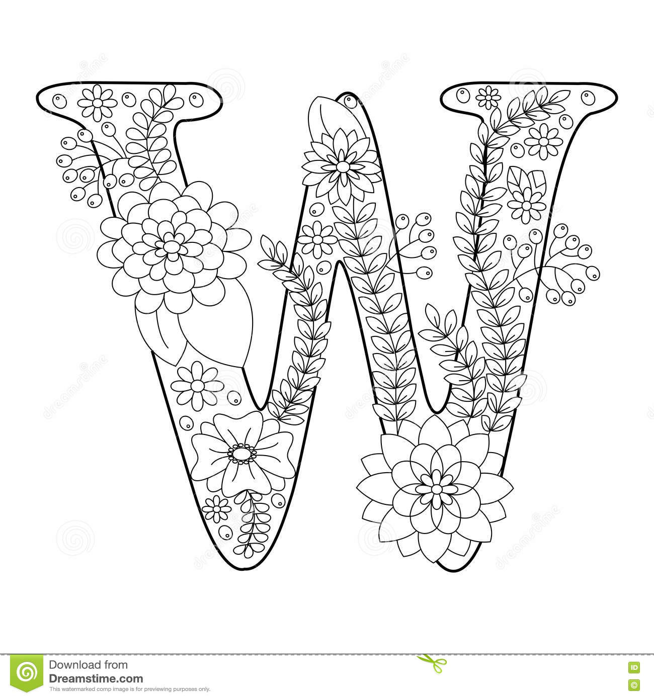 Letter W Coloring Book For Adults Vector Stock Vector