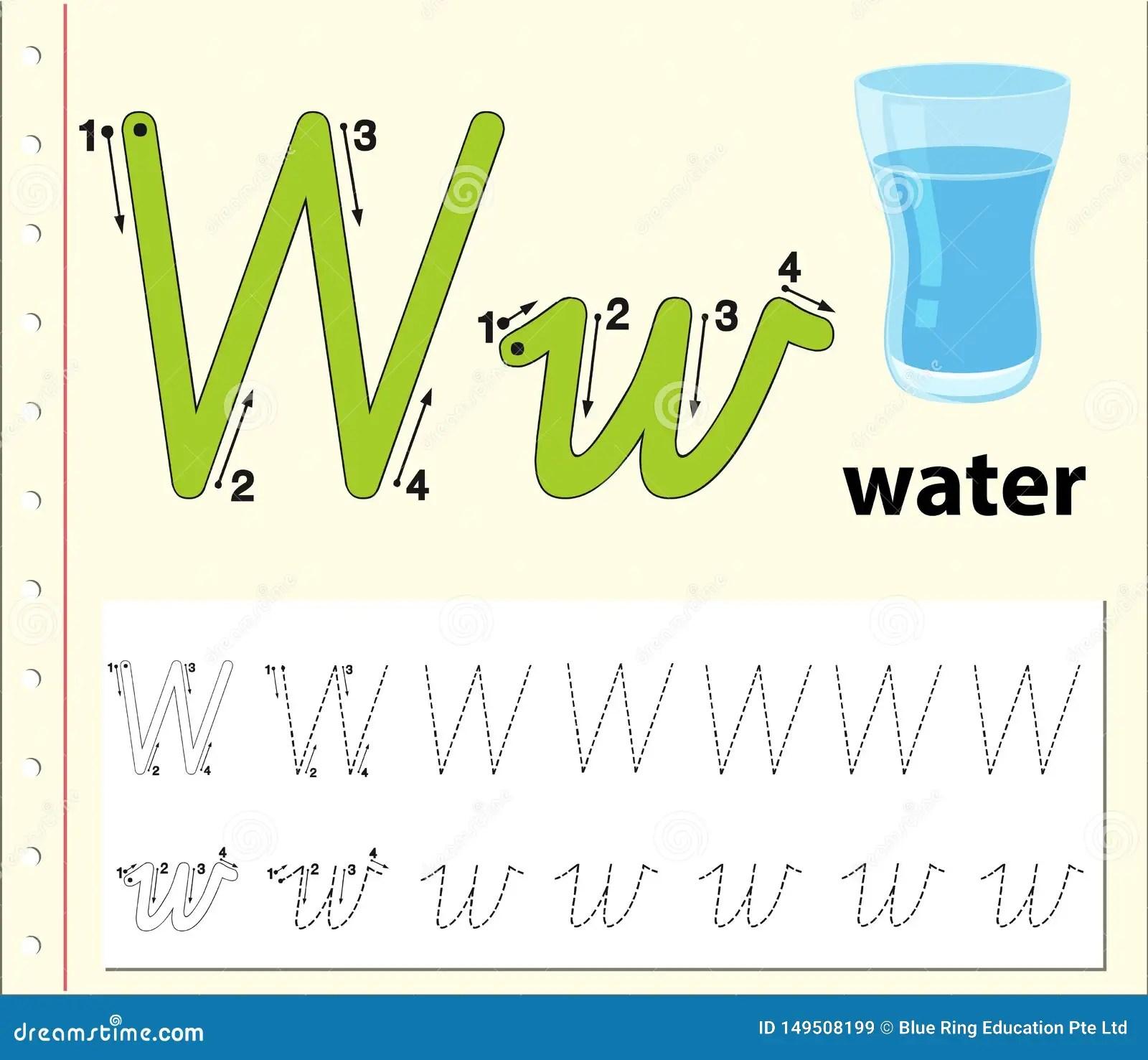 Letter W Tracing Alphabet Worksheets Stock Illustration