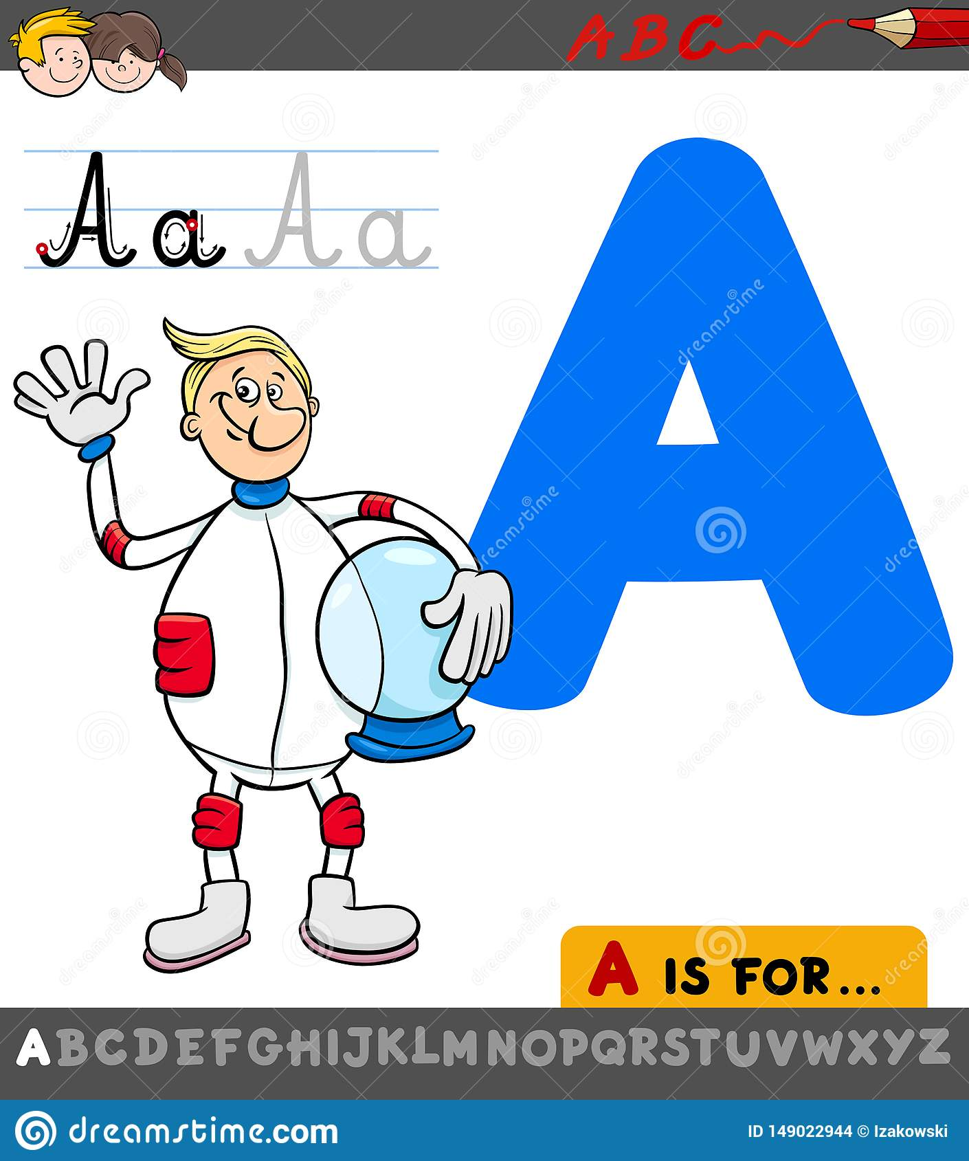 Letter A Worksheet With Cartoon Astronaut Stock Vector
