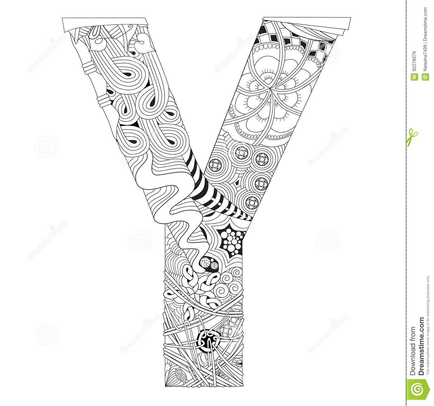 Letter Y For Coloring Vector Decorative Zentangle Object