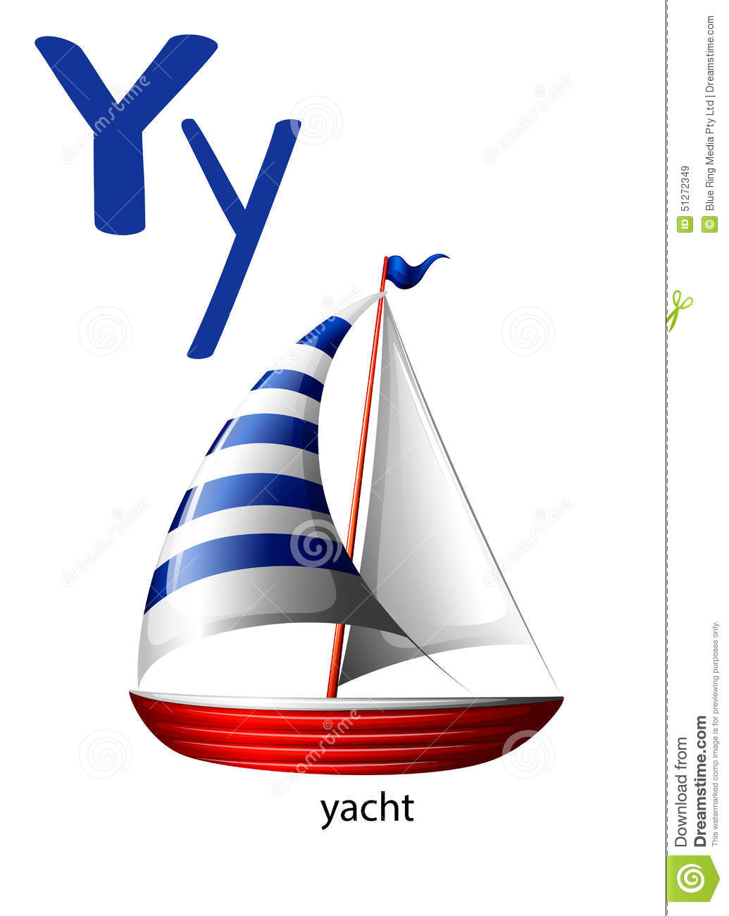 Letter Y For Yacht Stock Vector Illustration Of Isolated
