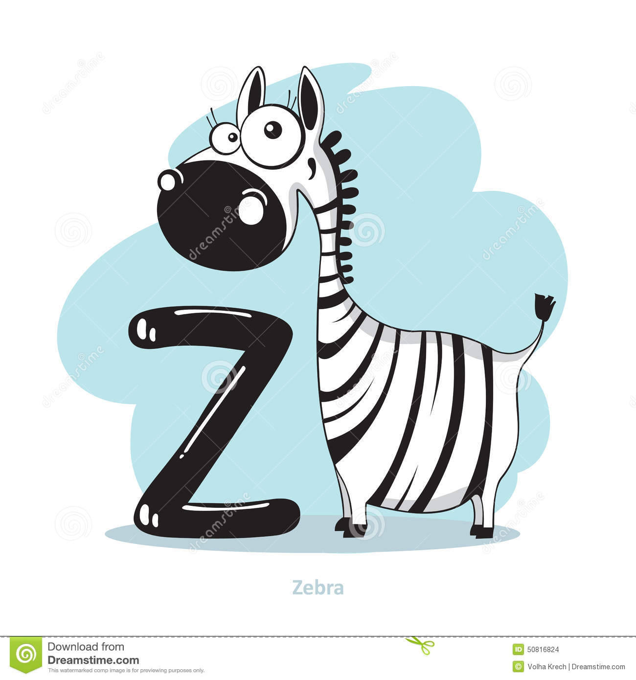 Letter Z With Funny Zebra Stock Vector Illustration Of