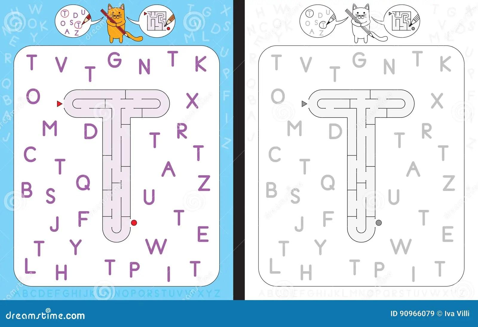 Lettera T Del Labirinto Illustrazione Vettoriale