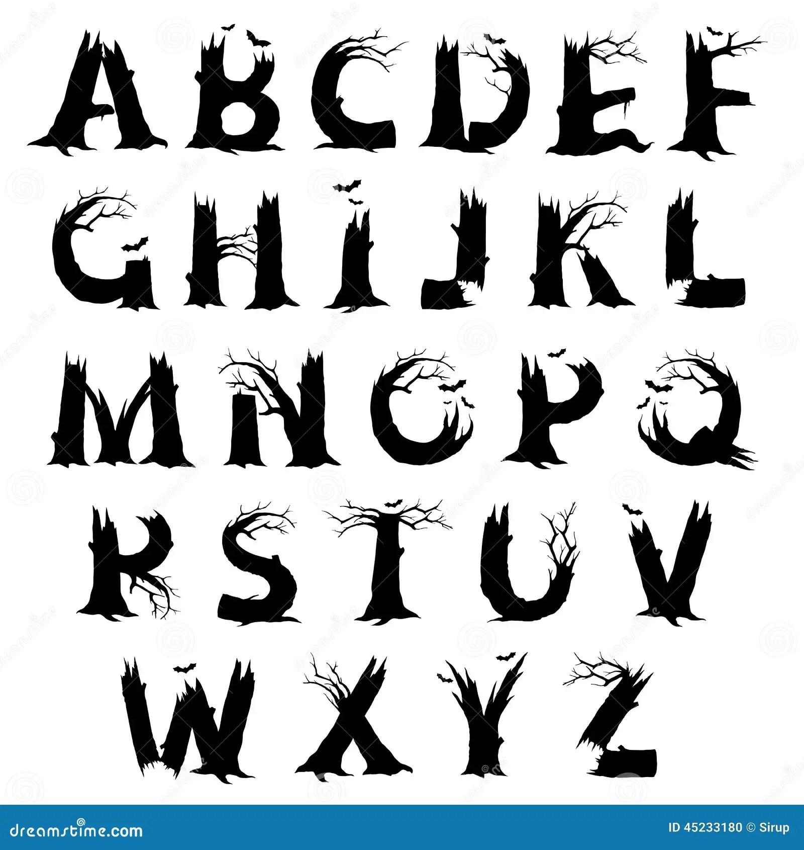 Lettere Di Alfabeto Di Orrore Di Halloween Illustrazione Vettoriale