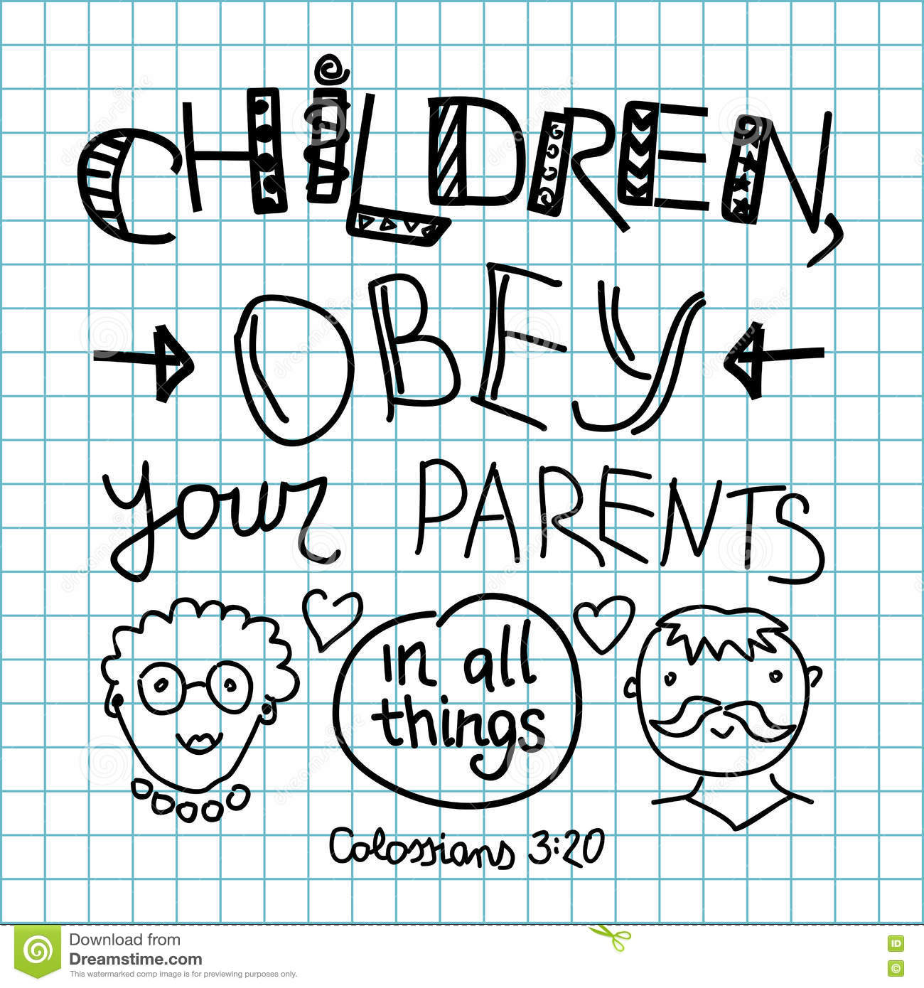 Lettering Bible Children Obey Your Parents Stock Vector