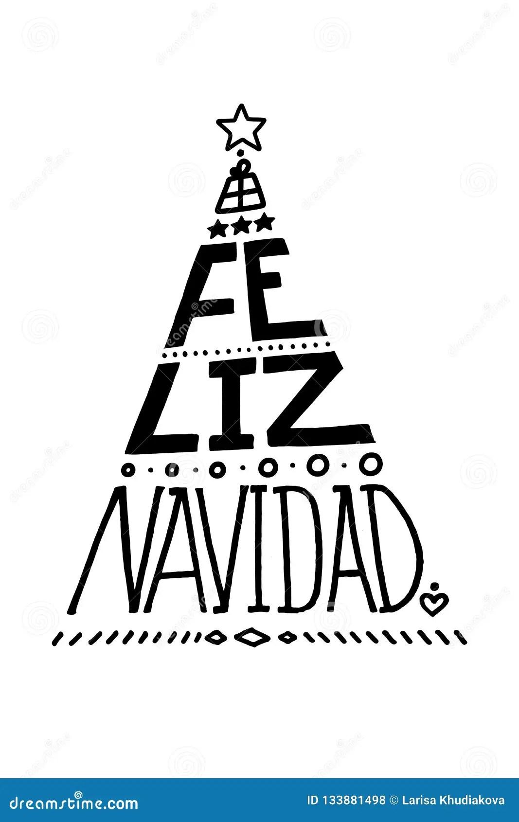 Lettering Poster Feliz Navidad Merry Christmas Spanish