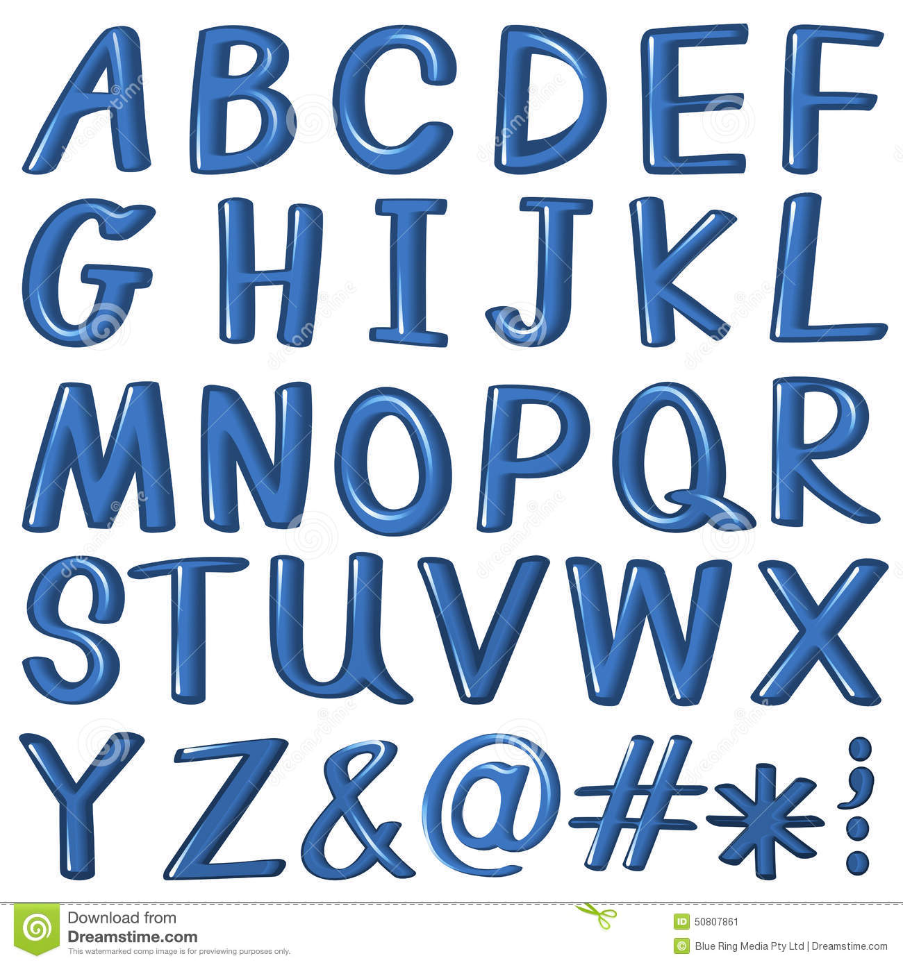 letters of the alphabet in blue color stock vector image 50807861
