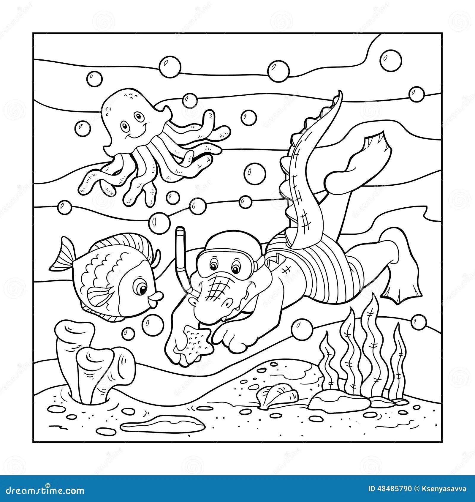 Libro Da Colorare Per I Bambini Operatore Subacqueo Del Coccodrillo Fondo Dell Oceano