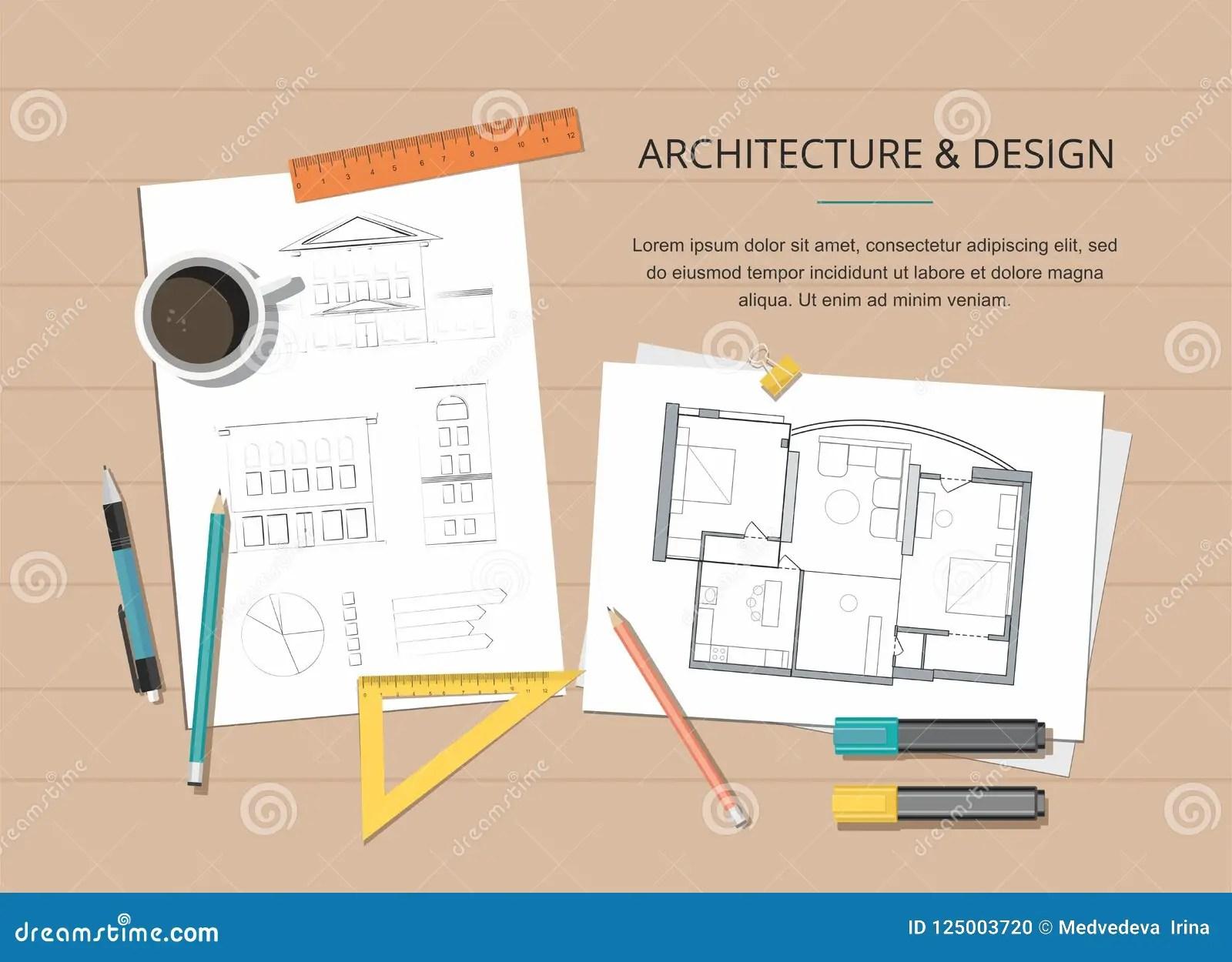 https fr dreamstime com lieu travail plan maison d architecte projet construction des outils dessin fond image125003720