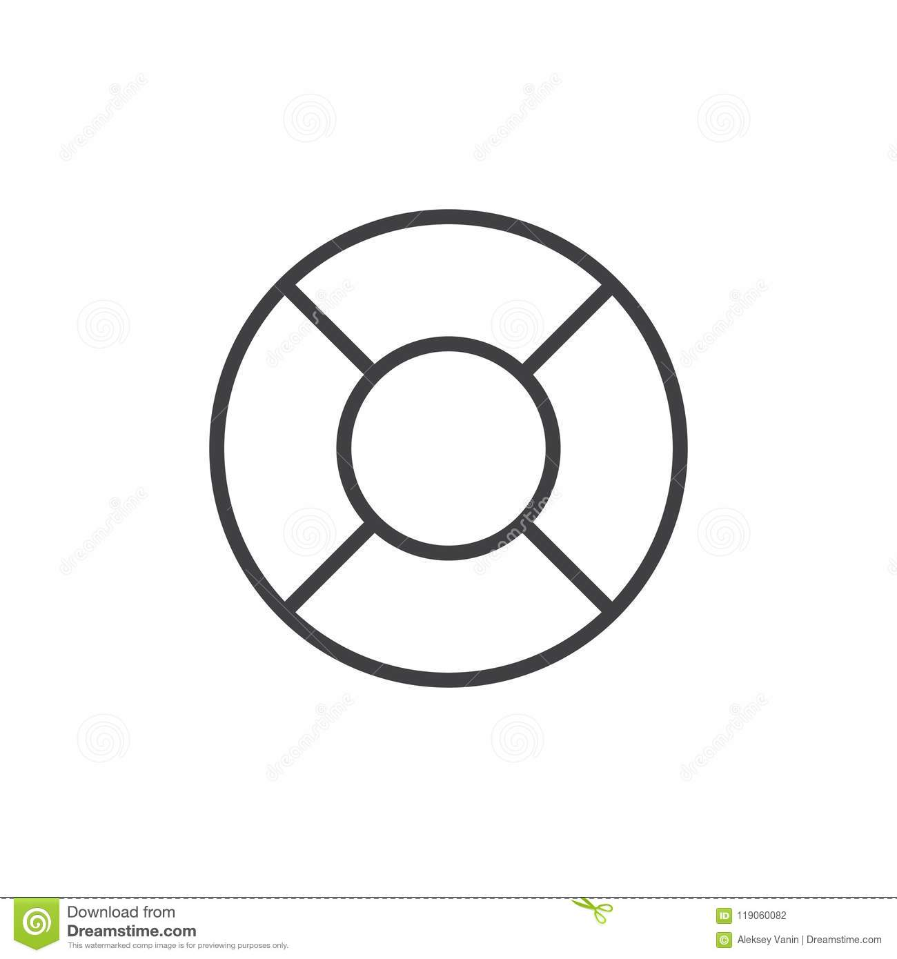 Lifebuoy Outline Icon Stock Vector Illustration Of Line