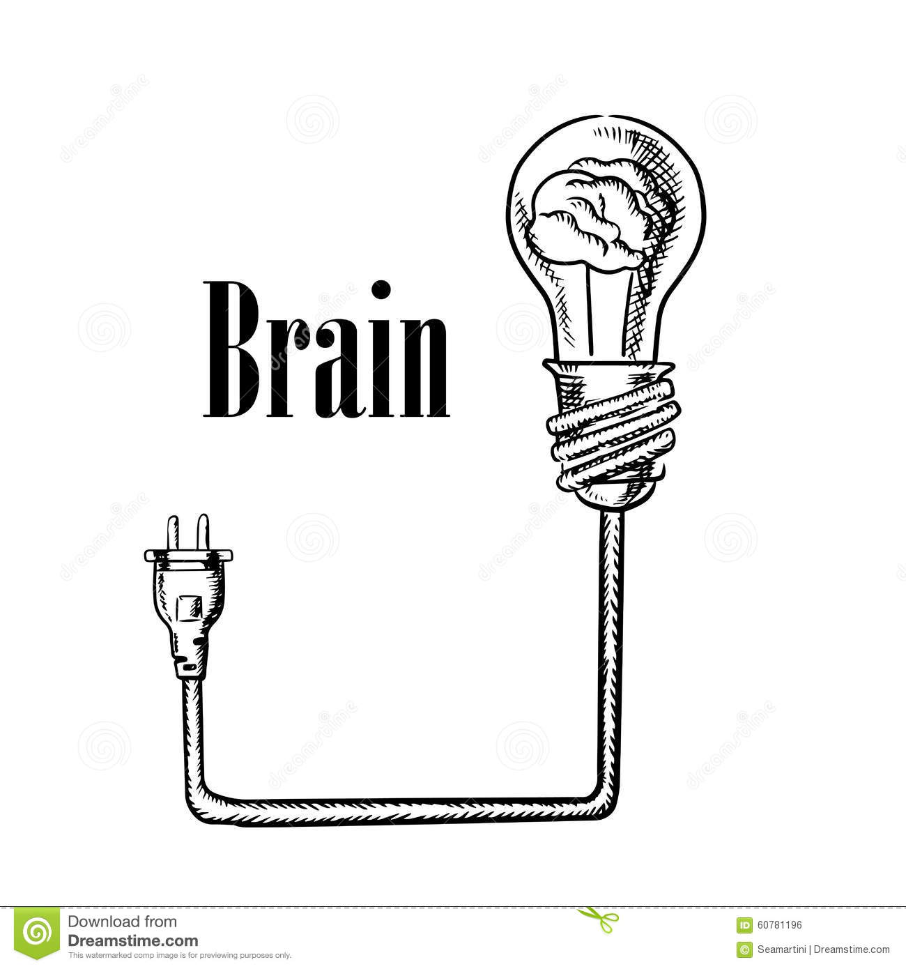 Light Bulb With Brain Connected To Plug Stock Vector
