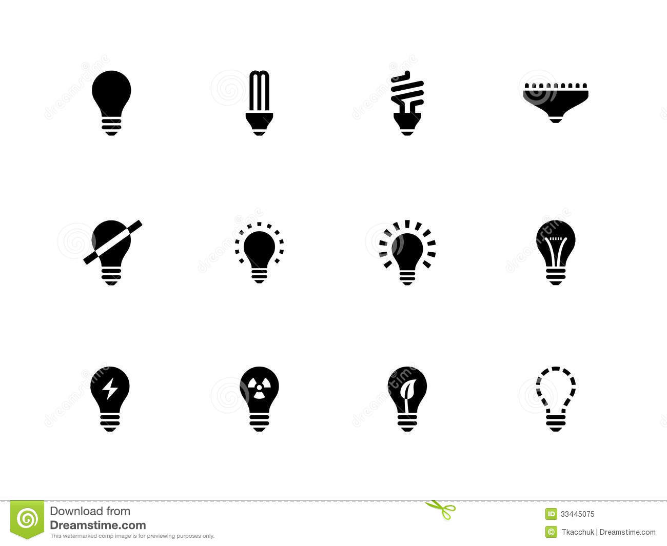 Light Bulb And Cfl Lamp Icons On White Background Royalty