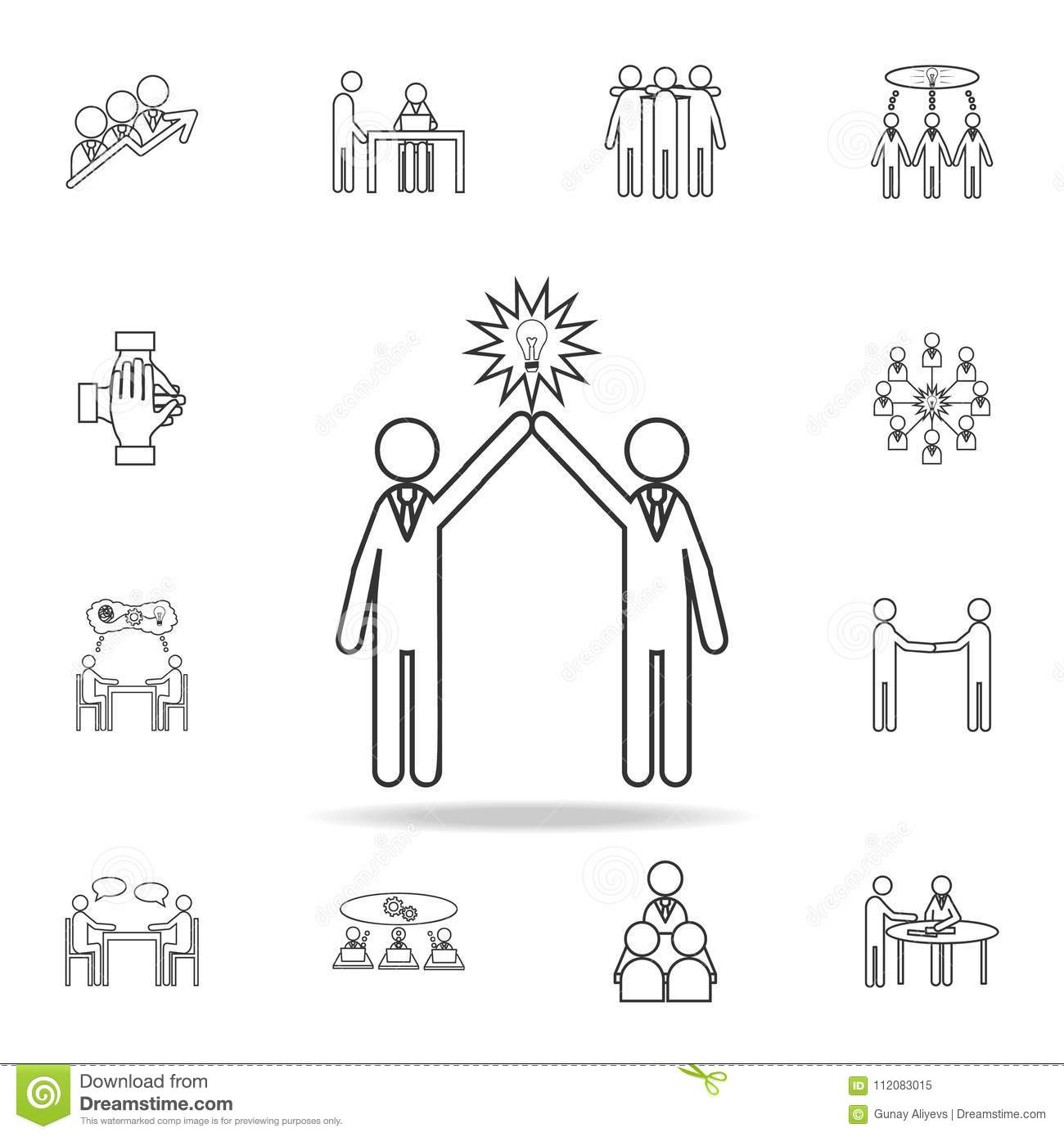 Light Bulb People Concept Of Two People Icon Detailed Set