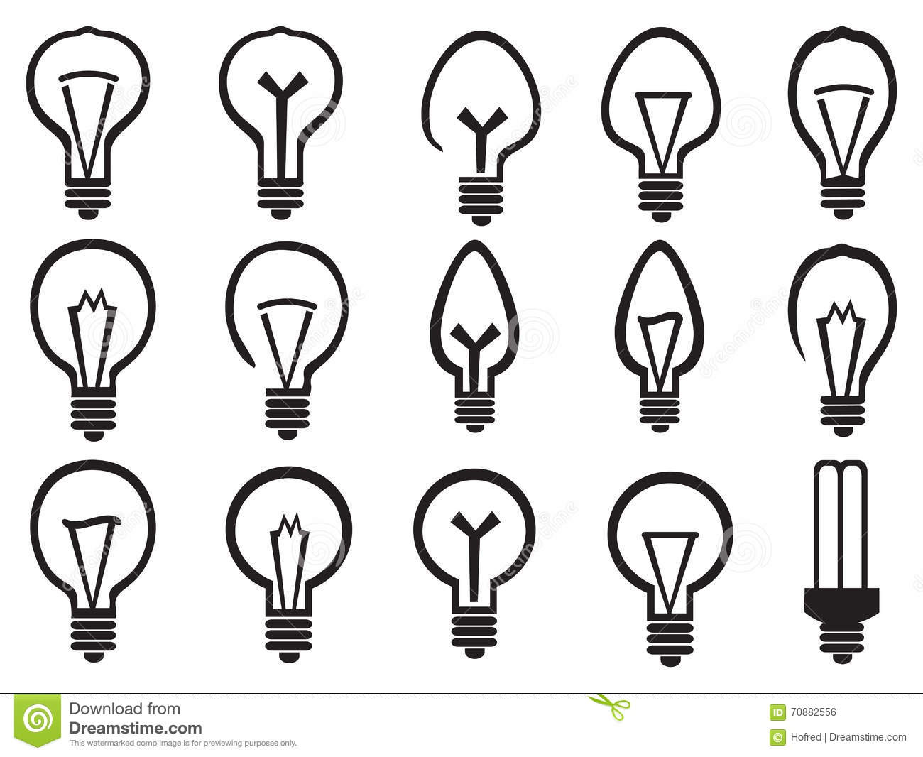 Light Bulb Vector Icon Set Stock Vector