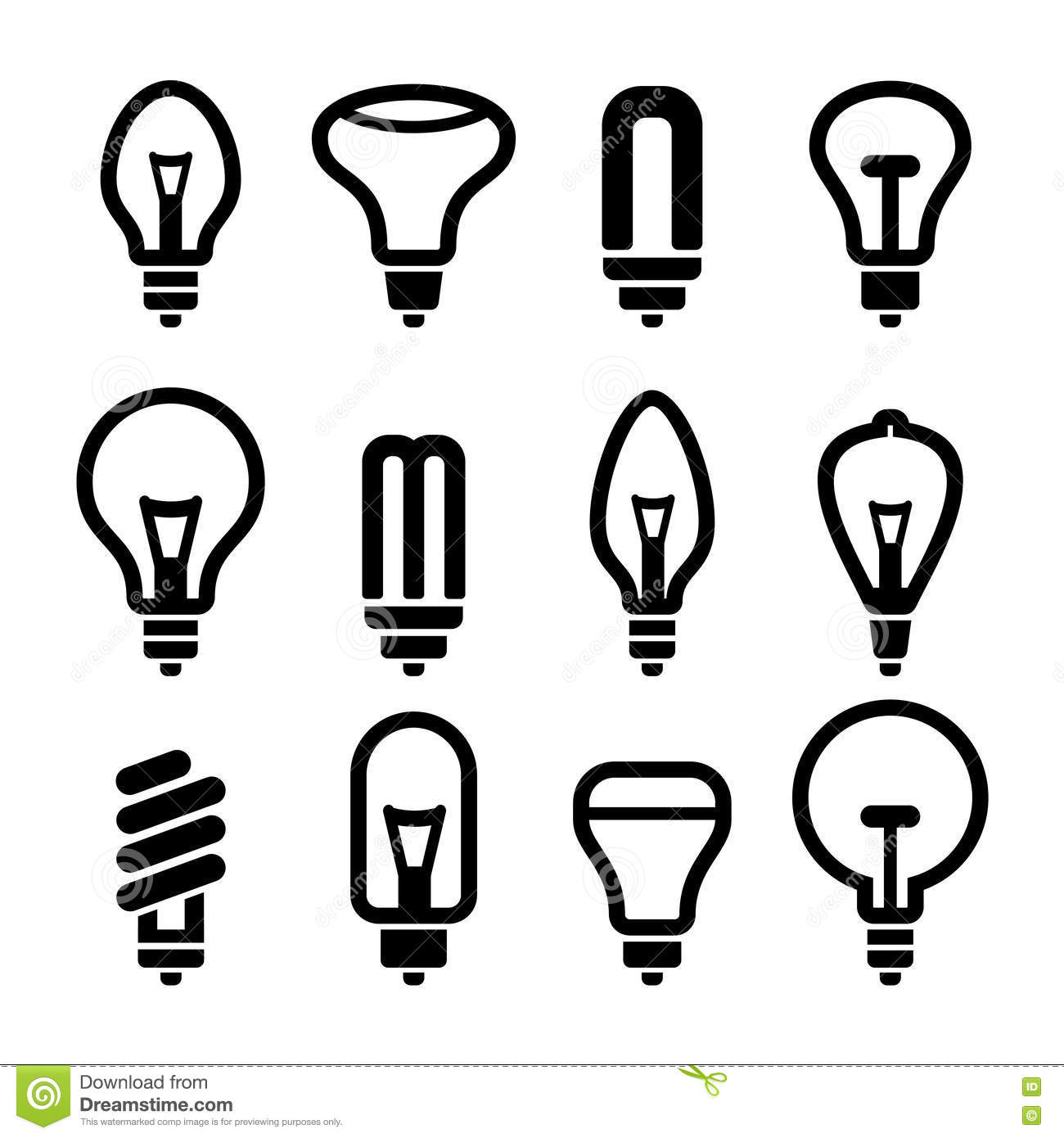 Light Bulbs Bulb Icon Set 2 Vector Stock Vector