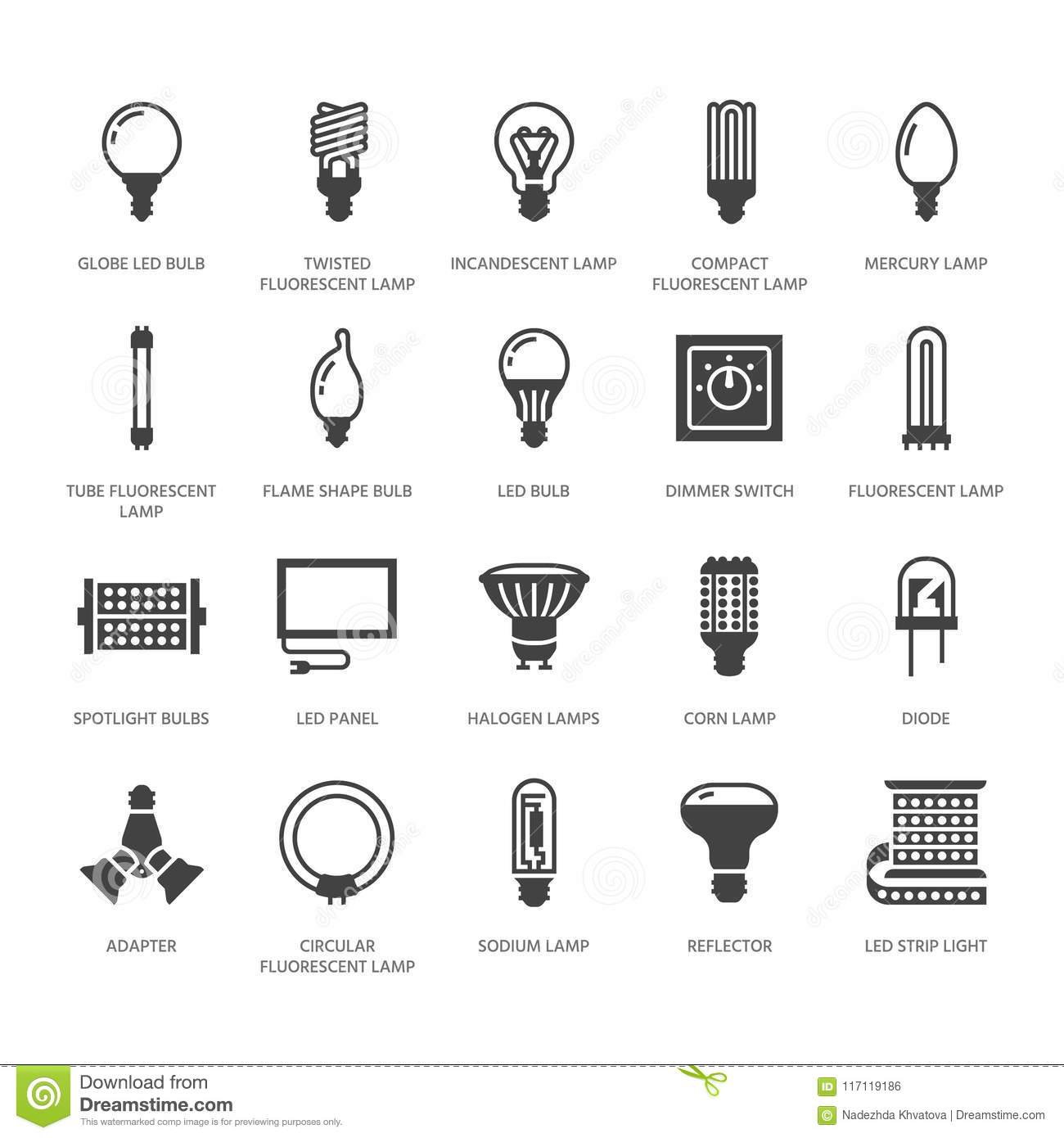 Light Bulbs Flat Glyph Icons Led Lamps Types Fluorescent